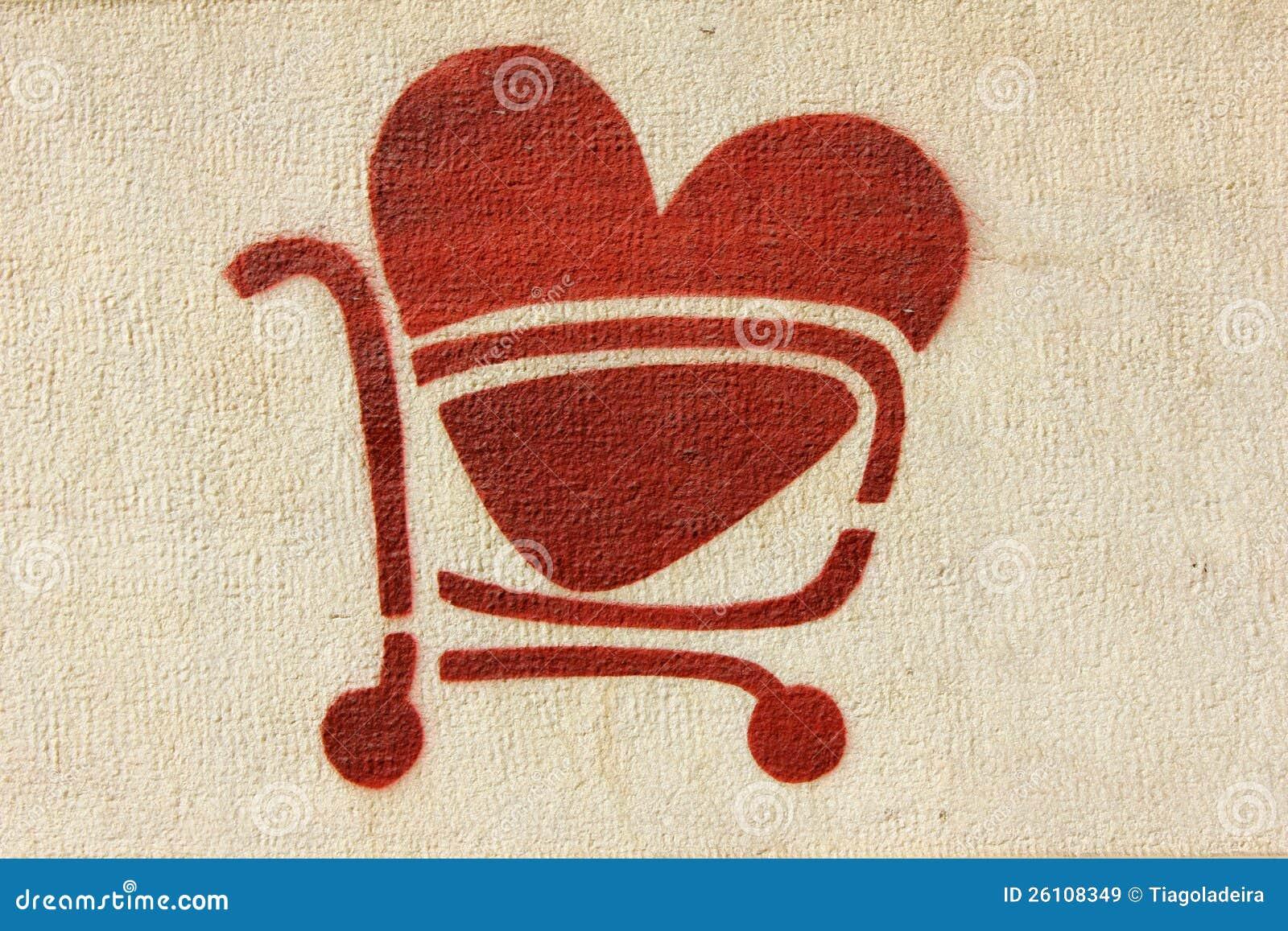 Carrello di acquisto rosso del cuore