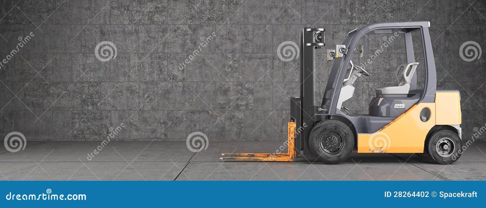 Carrello elevatore a forcale sul fondo sporco industriale della parete