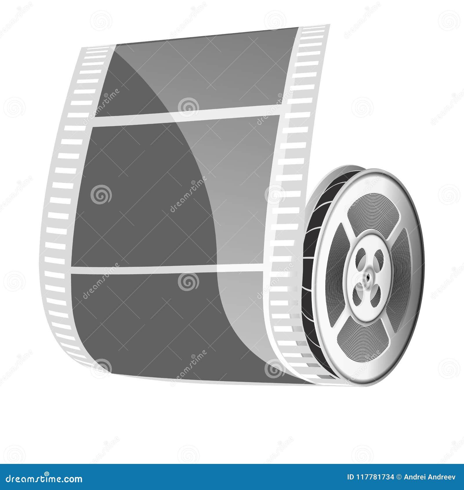 Carretel De Filme E Fita Do Cinema Isolada No Fundo Branco