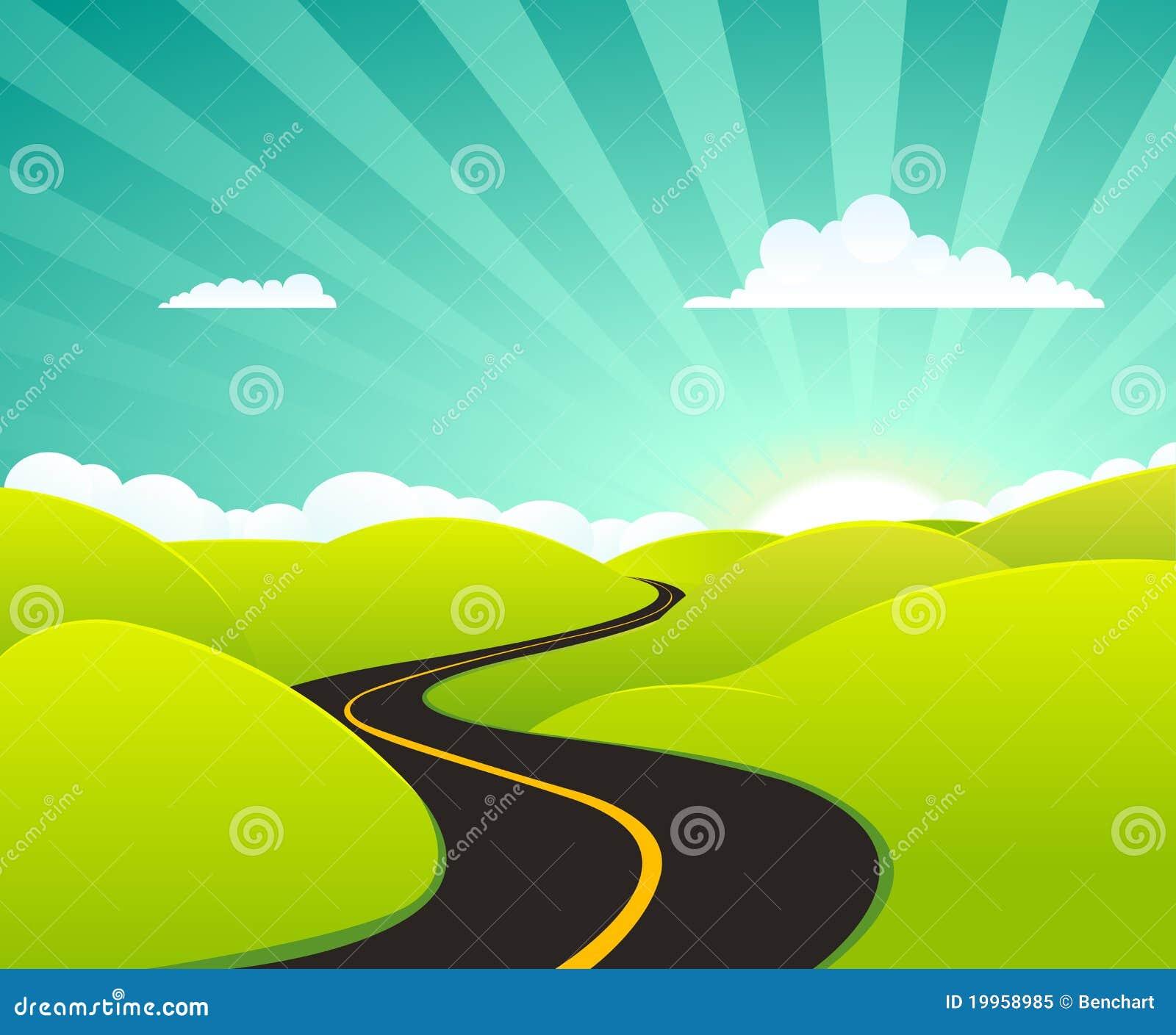 Carretera del verano de la historieta