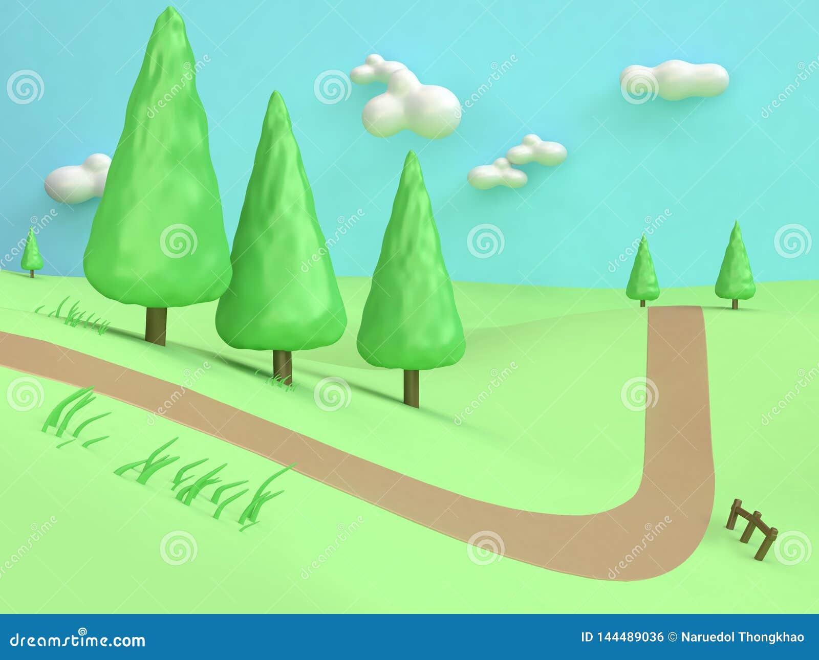 Carretera nacional mínima de la montaña de la colina del campo del verde de la naturaleza del extracto del estilo del polivinílic