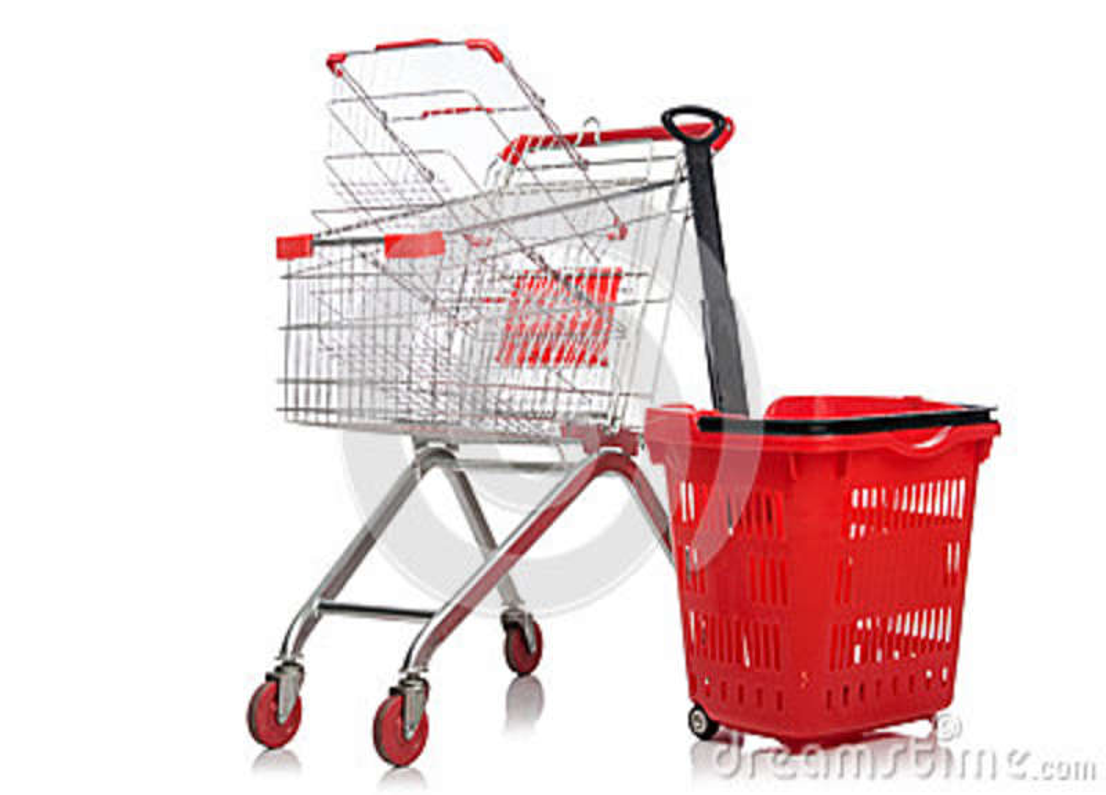 Carretilla del supermercado de las compras aislada