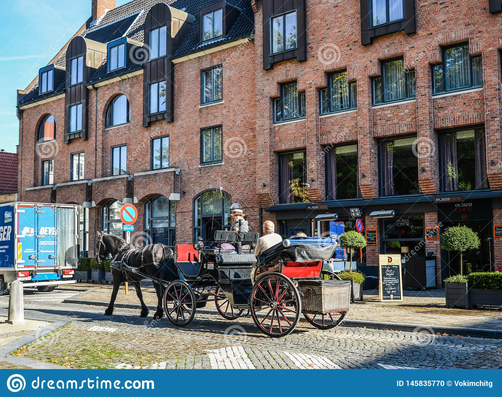 Carretto del cavallo a Bruges Bruges, Belgio