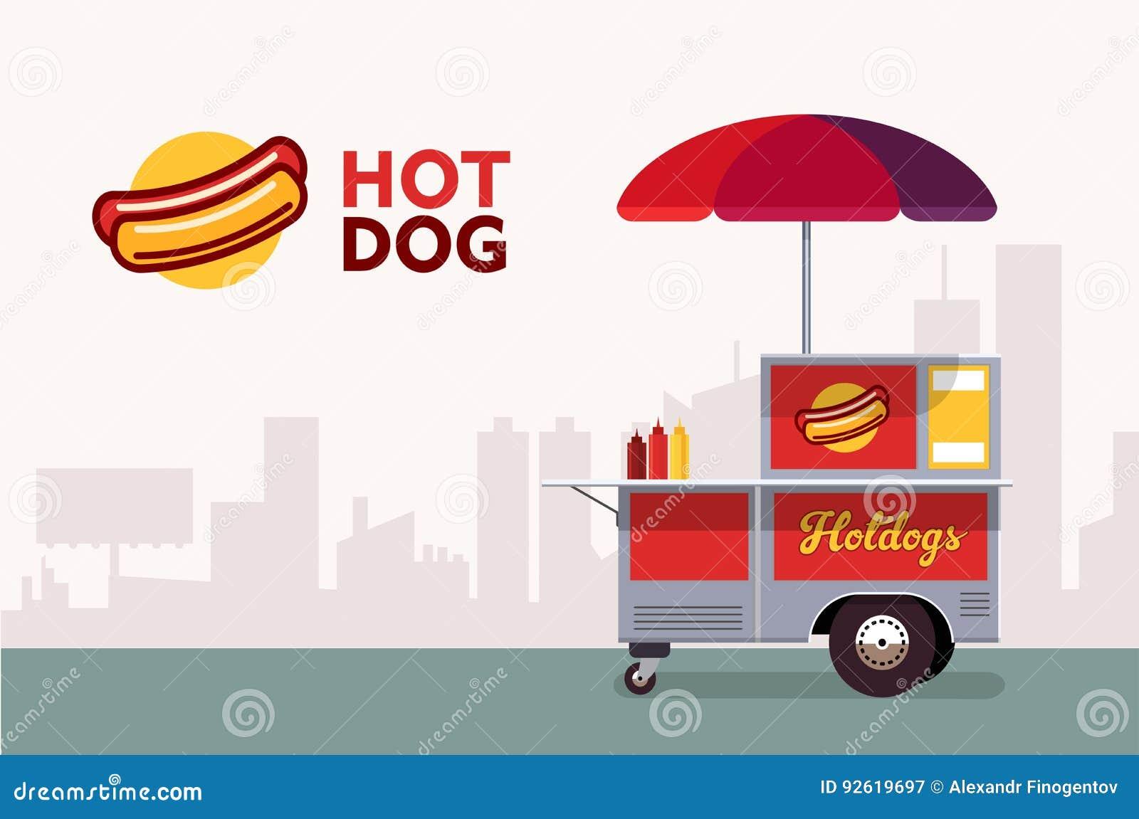 Carretto della via del hot dog Servizio del venditore del supporto degli alimenti a rapida preparazione Affare del venditore del
