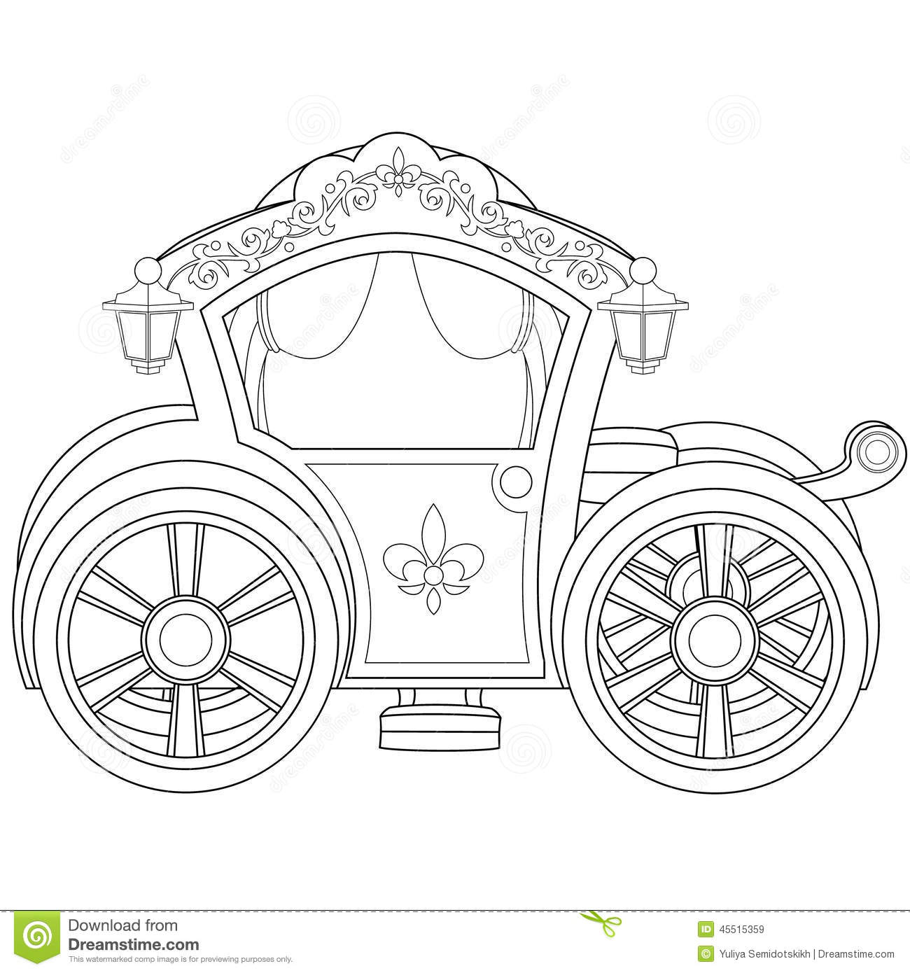 Carriage Coloring Book Page Stock Vector