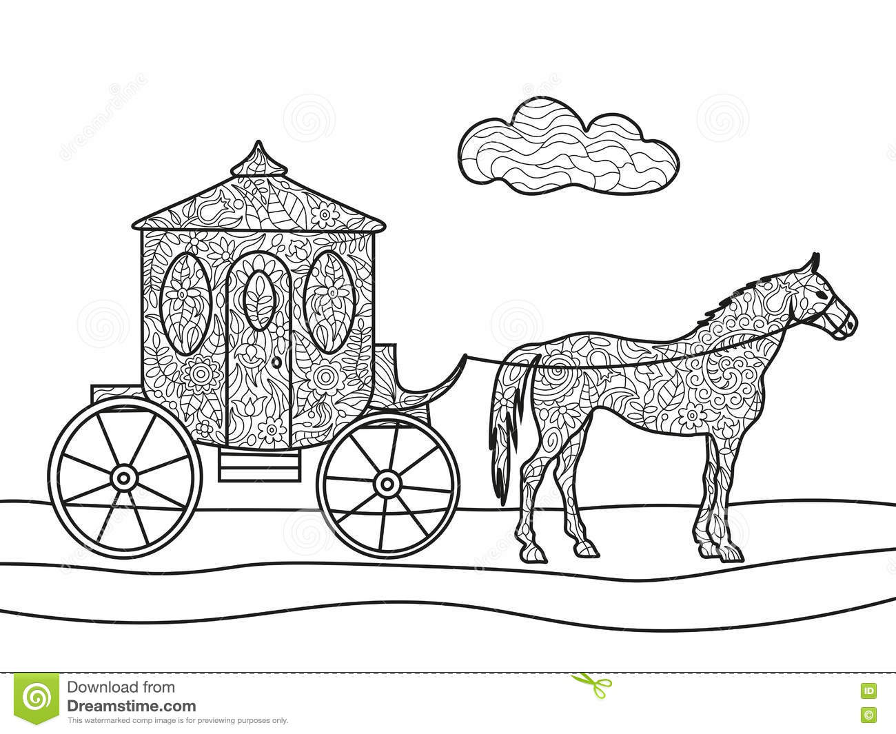 Carriage with a horse coloring book for adults vector illustration black and white lines lace pattern