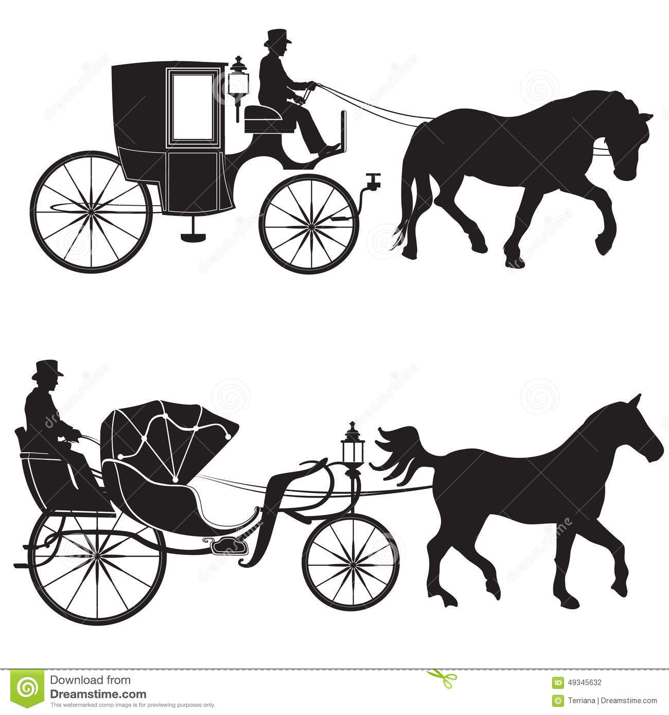 Carriage With Horse Hansom Cab Set Stock Illustration Illustration Of Drawing Harness 49345632