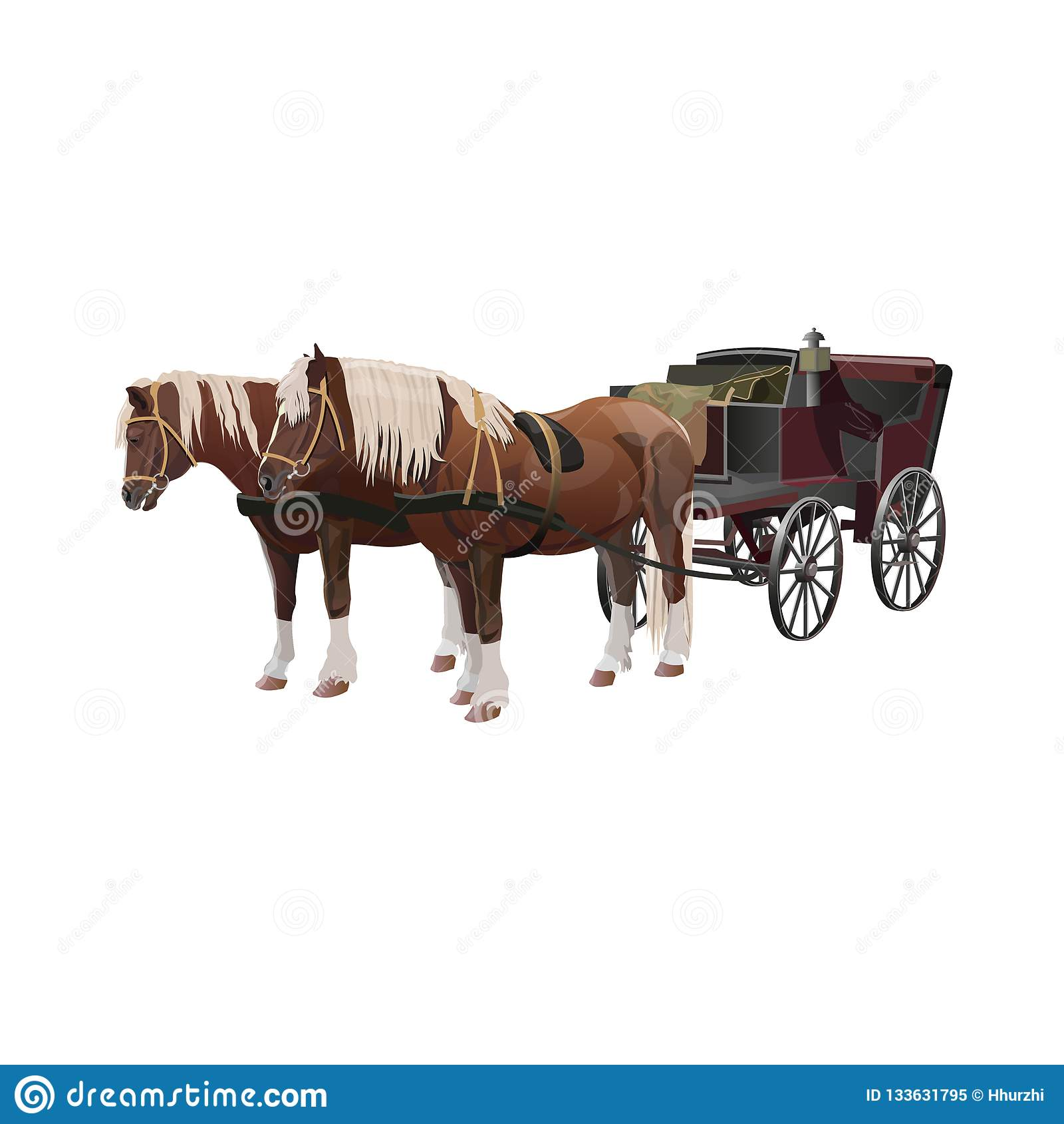 Carriage With Horses Stock Vector Illustration Of Postal 133631795