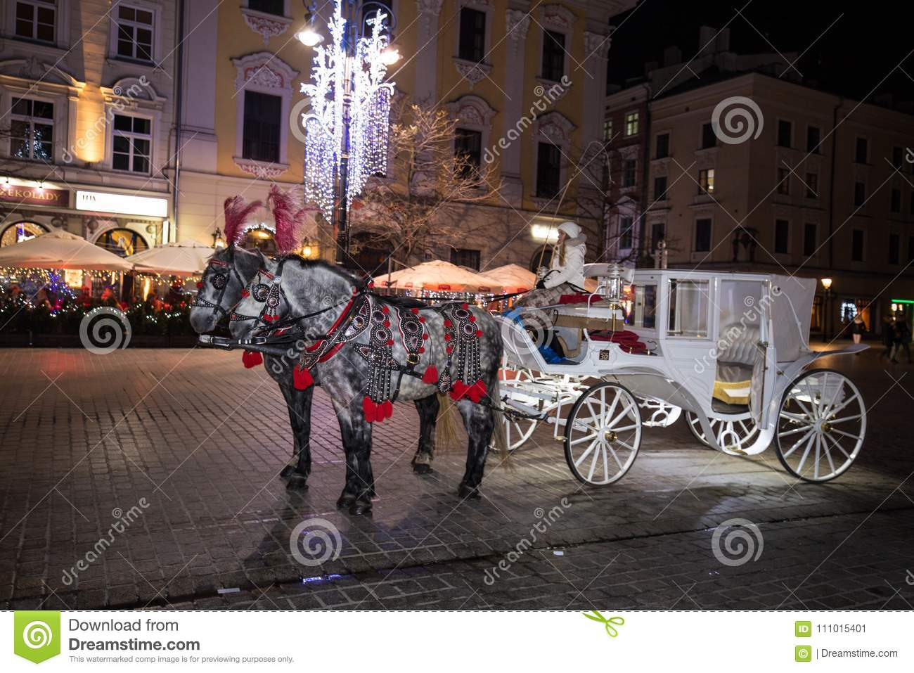 A Carriage With Horses Christmas Square Krakow Celebration Night Fair Feast Of Approaching Editorial Photo Image Of Horses Fair 111015401