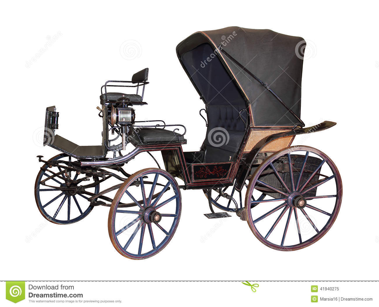 Carriage By Late 19th Century On White Stock Photo Image