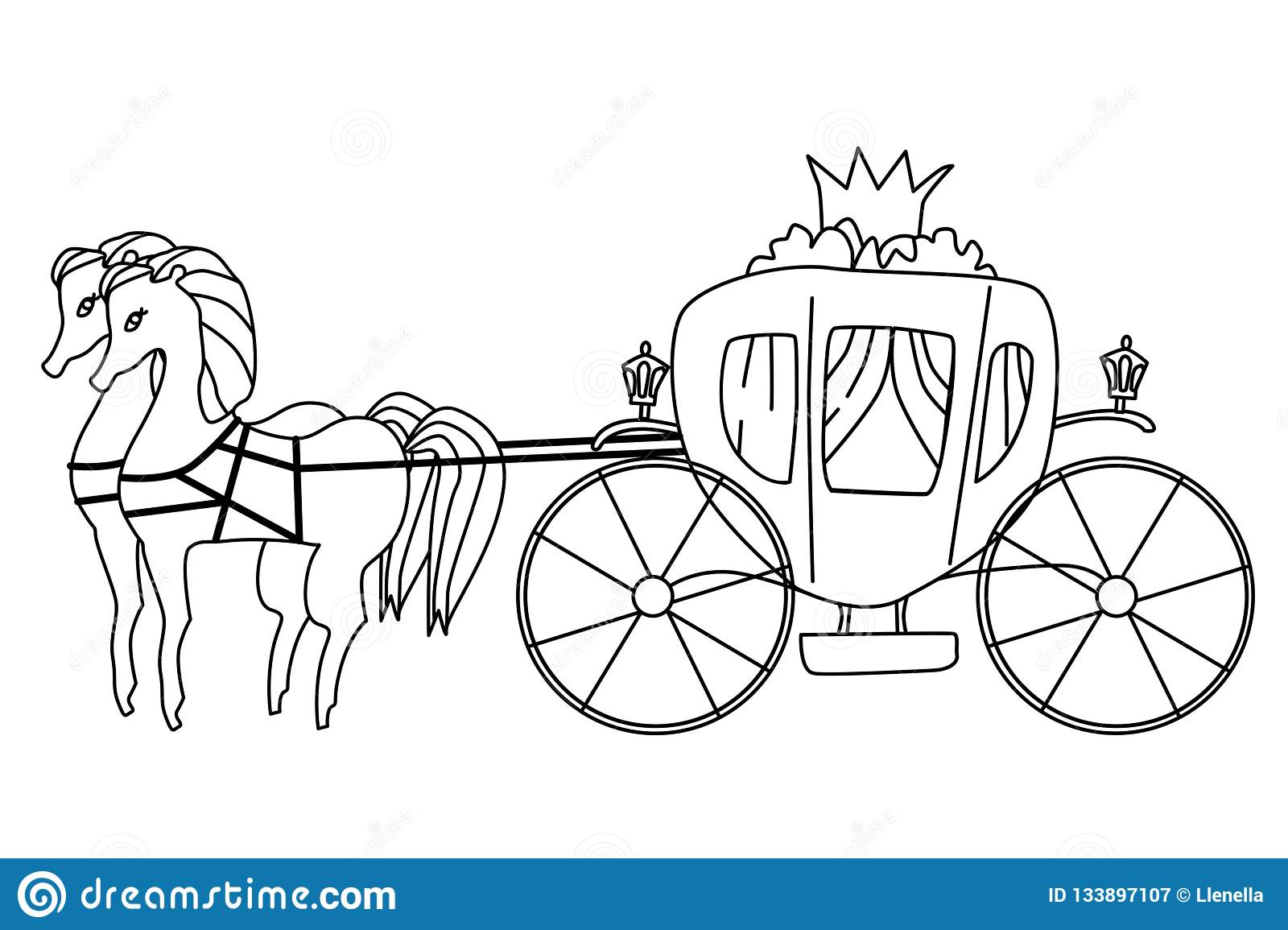 Carriage for princess isolated illustration vector coloring page