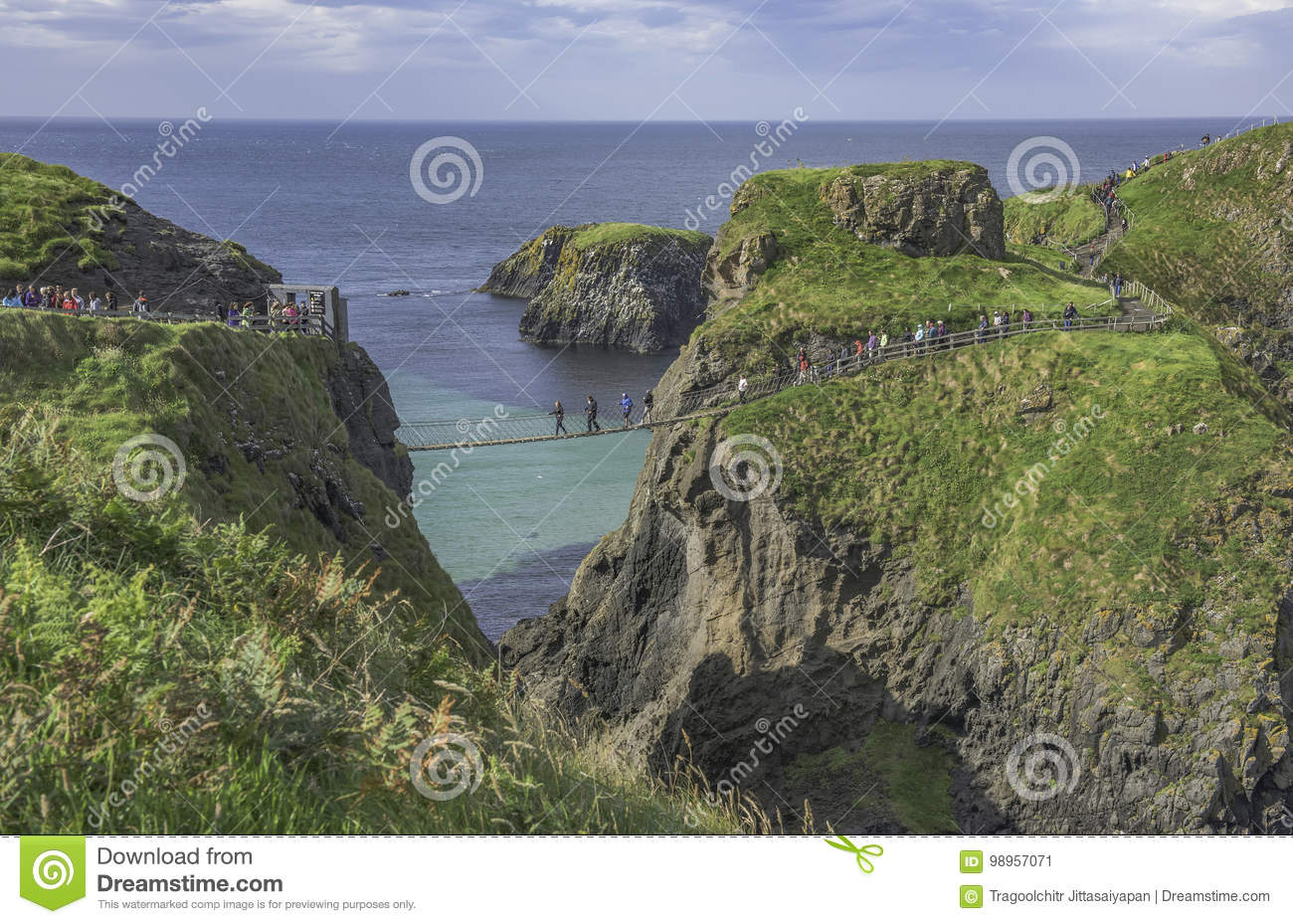 Carrick-a-Rede Rope Bridge a famous rope bridge near Ballintoy in County Antrim in Northern Ireland