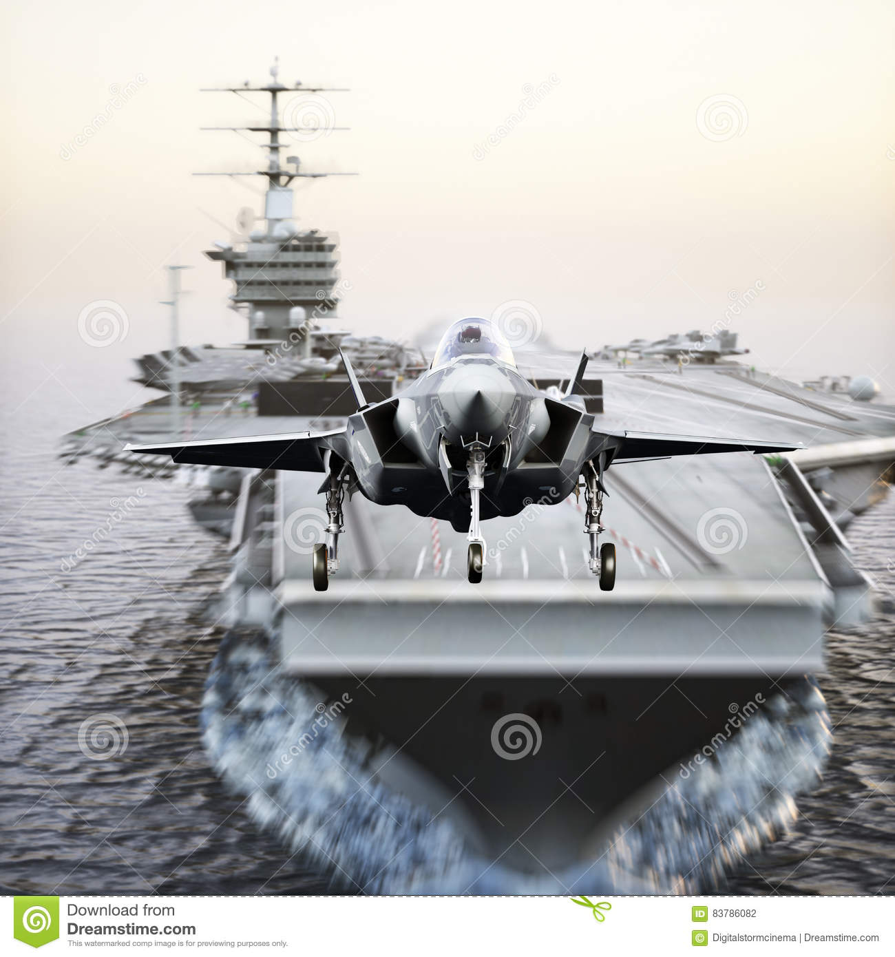 Carrier jet takeoff . Advanced aircraft jet taking off from a navy aircraft carrier.