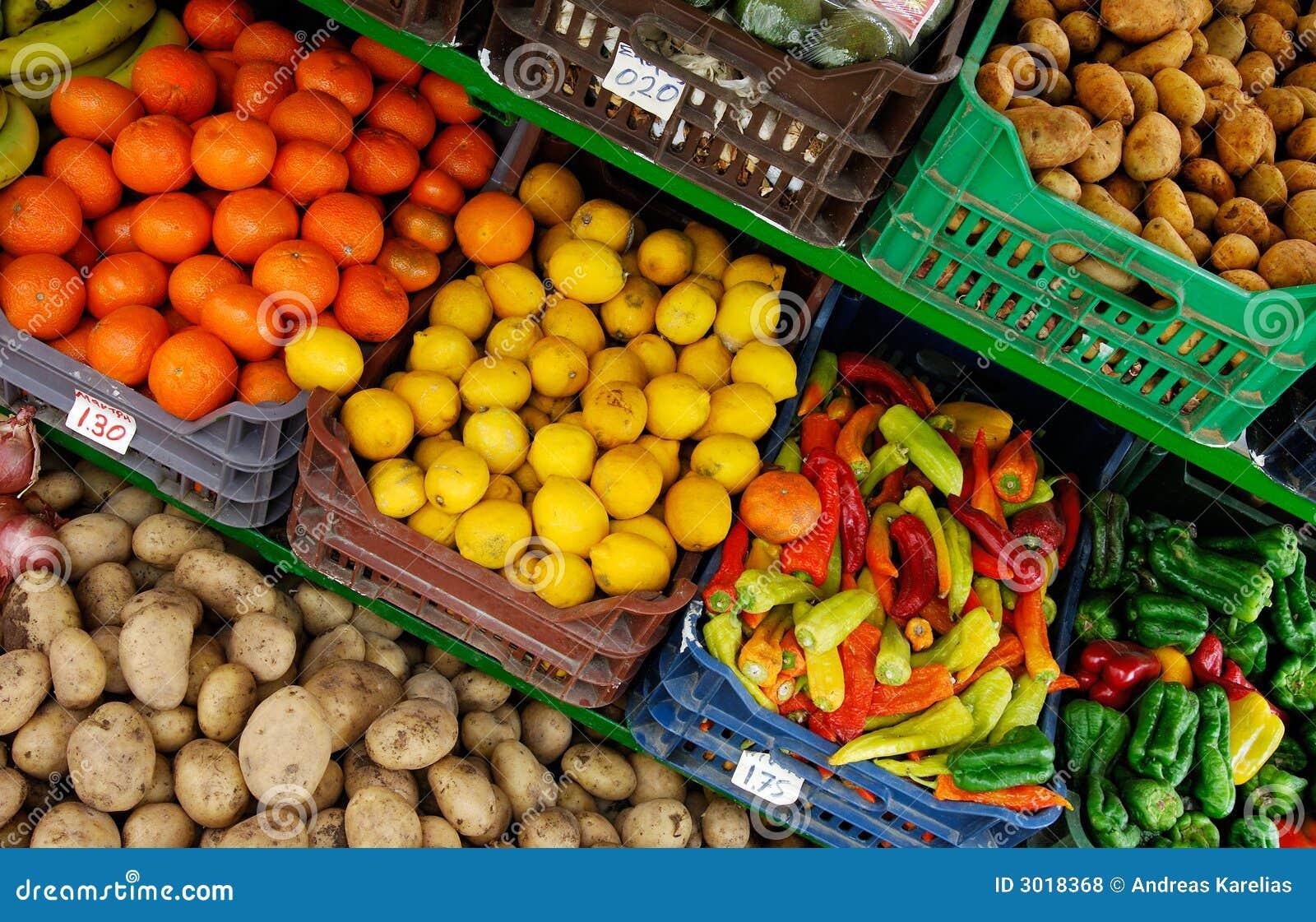 Carrinho Da Fruta E Verdura Foto De Stock Imagem De Ingredientes Nutrition 3018368