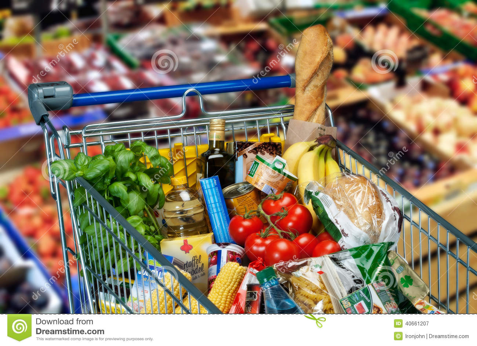Carrinho de compras com alimentos imagem de stock imagem - Carrito dela compra ...