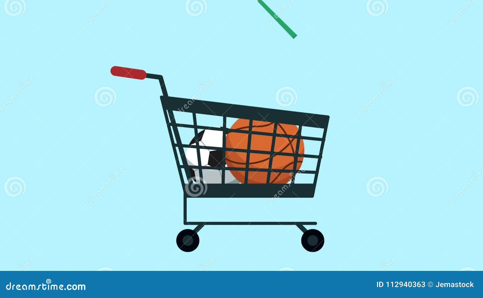 Carrinho de compras com material desportivo ilustração do vetor
