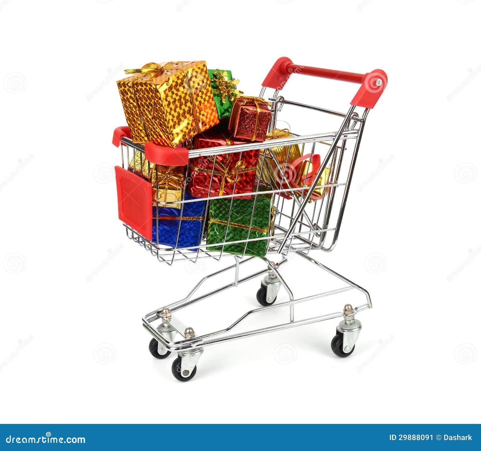 Carrinho de compras com presentes do natal imagem de stock - Carrito dela compra ...