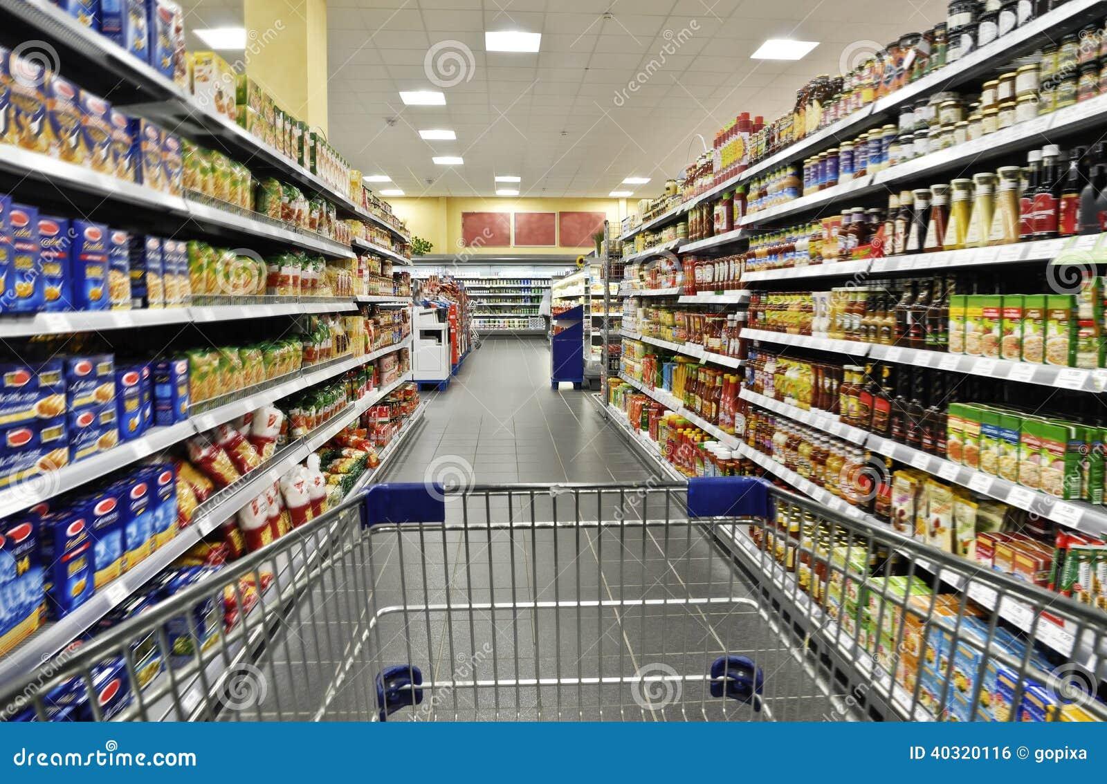 Carrinho de compras em um supermercado
