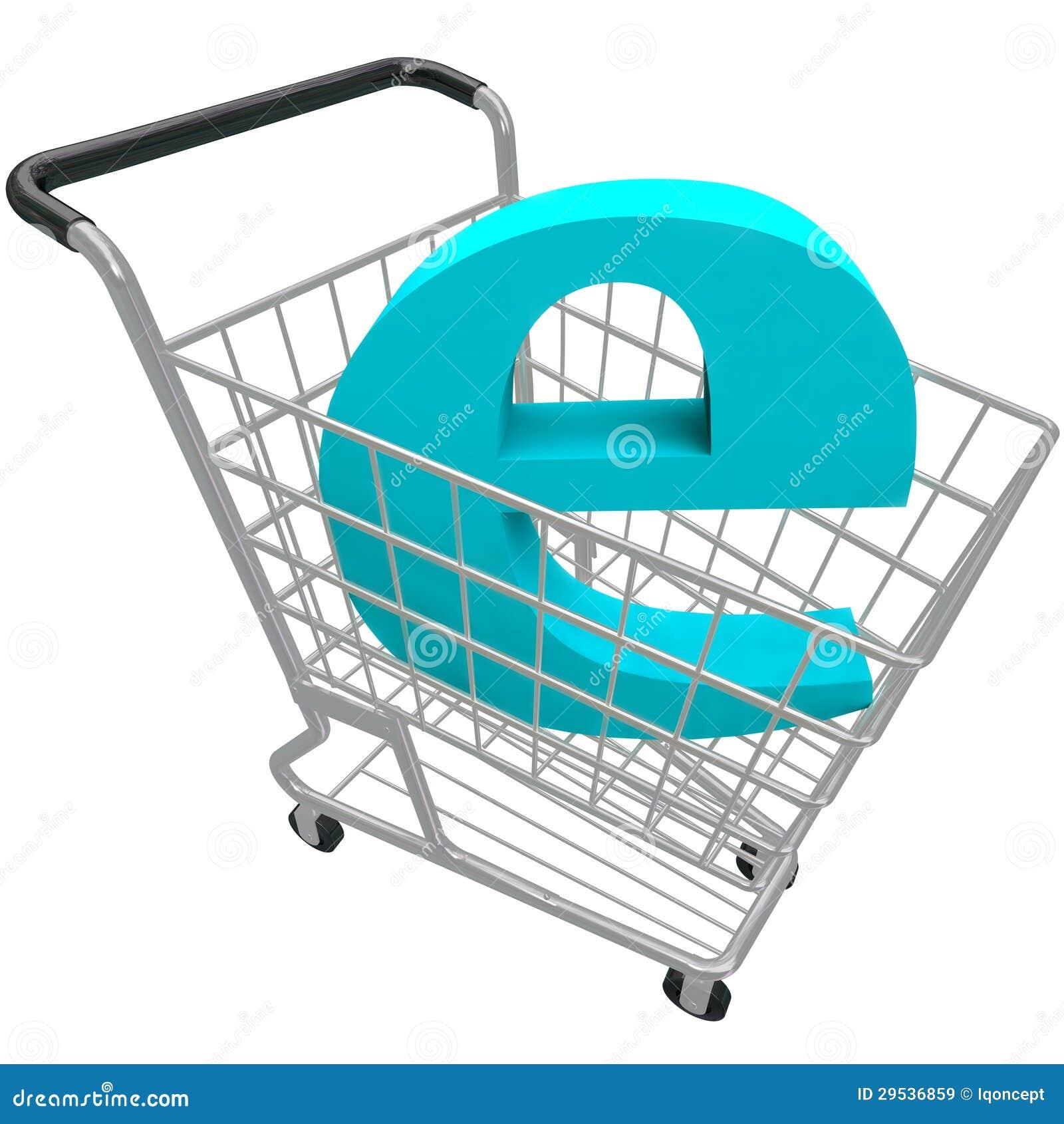 Carrinho de compras que contem a letra E