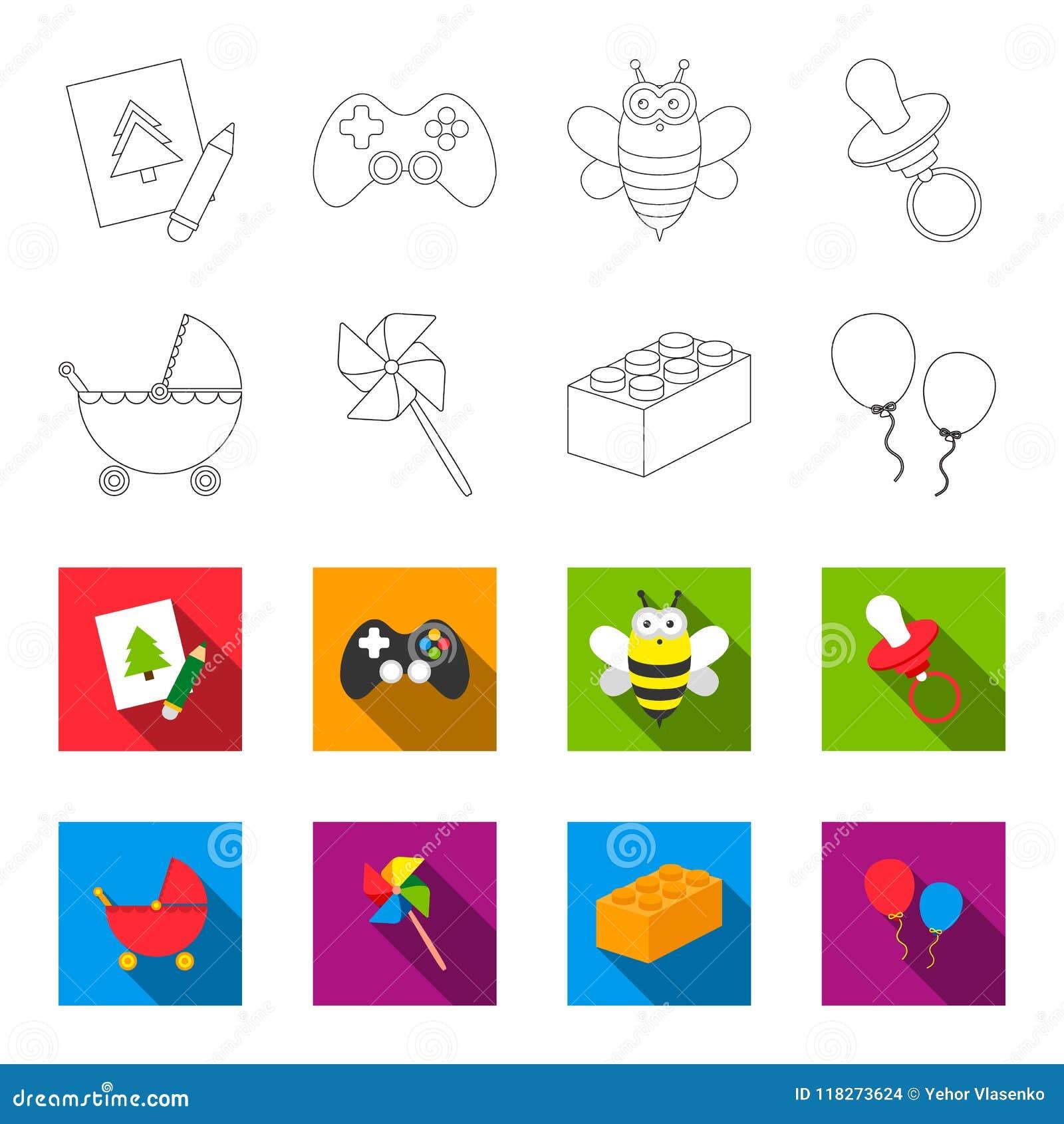Carrinho de criança, moinho de vento, lego, balões Os brinquedos ajustaram ícones da coleção no esboço, Web lisa da ilustração do