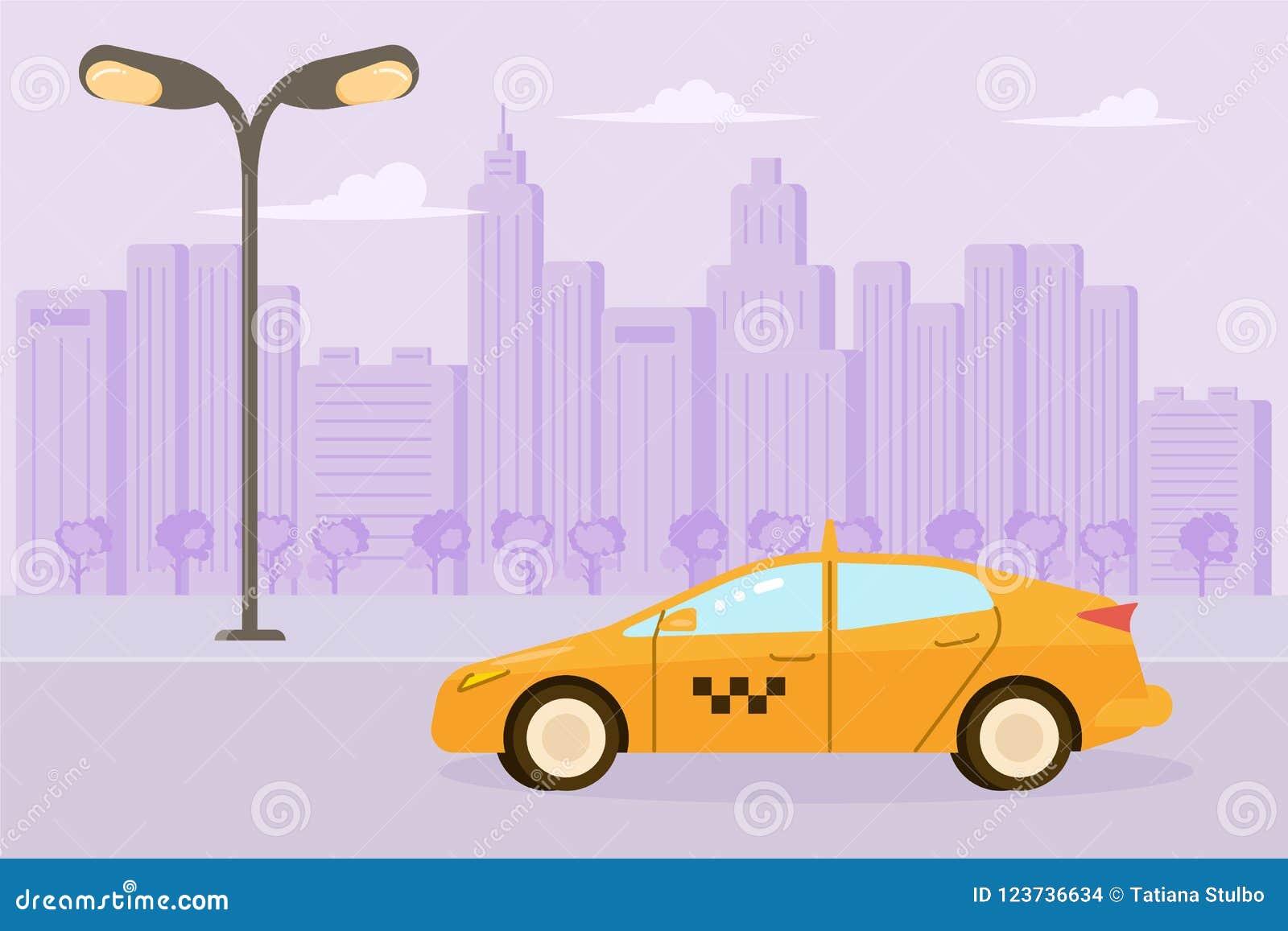 Carro amarelo do táxi