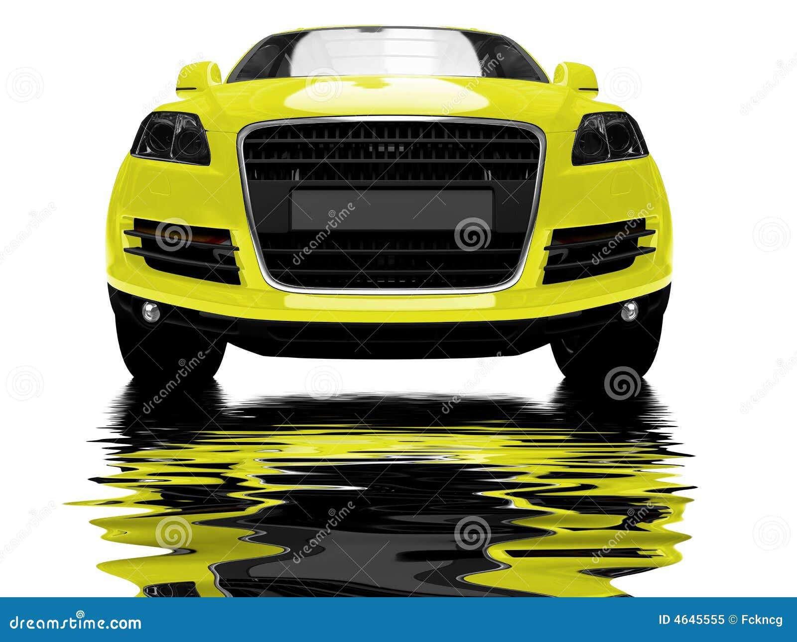 Carro amarelo isolado com reflexões