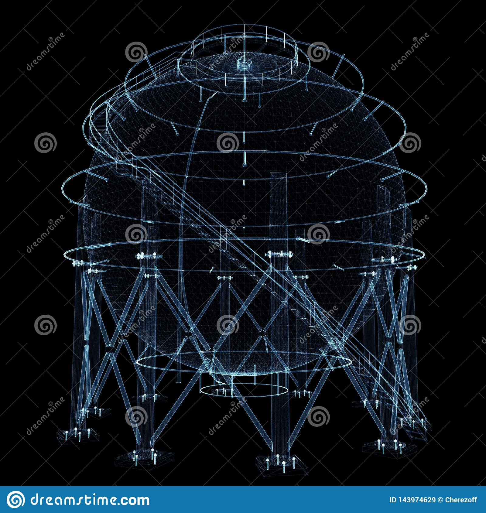 Carro armato di gas sferico che consiste delle linee e dei punti luminosi