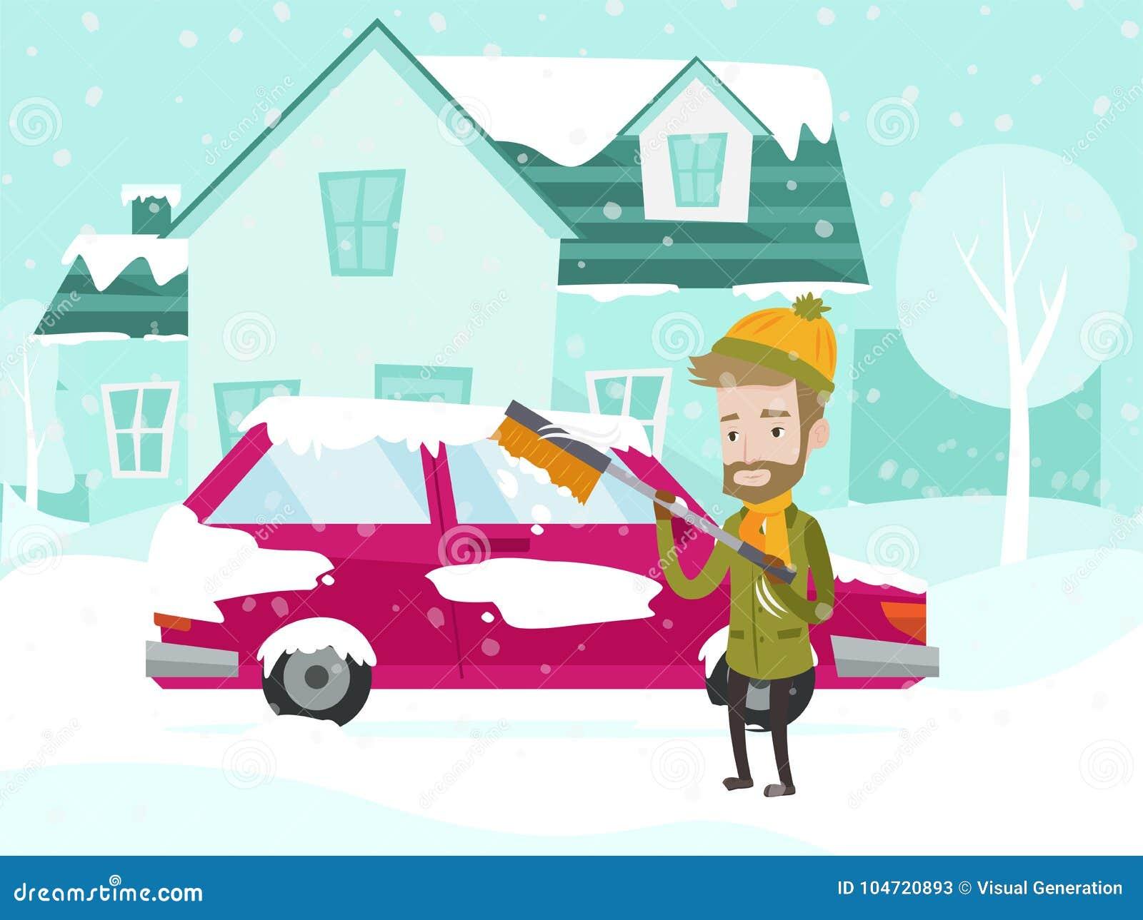 Carro caucasiano novo da limpeza do homem branco da neve