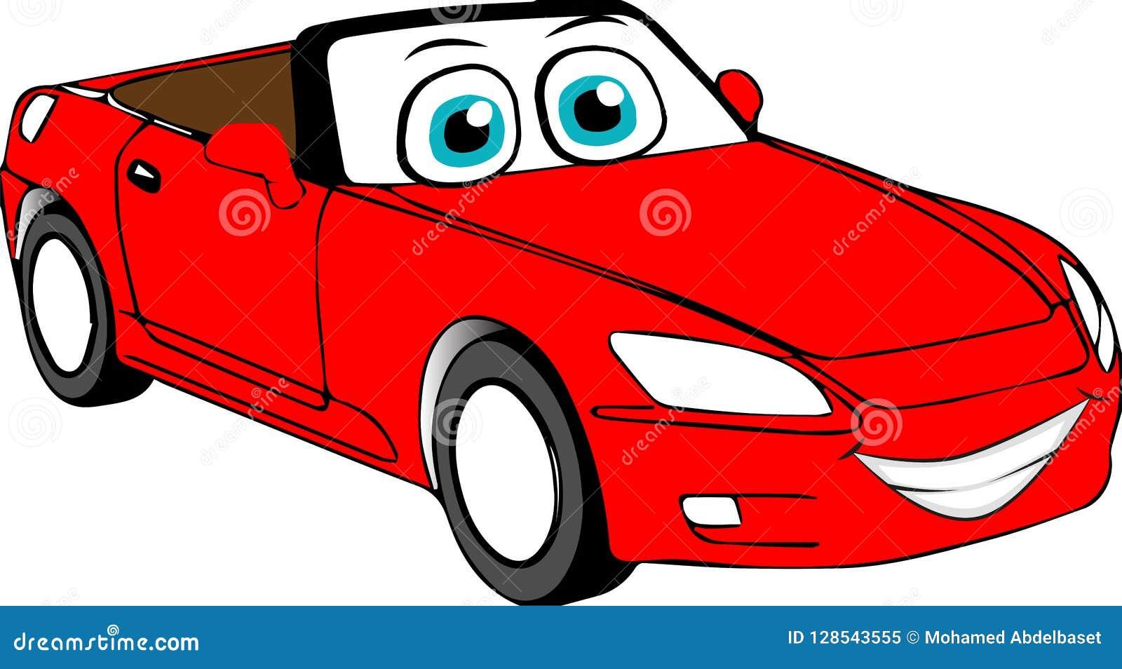 Carro Colorido Vermelho Dos Desenhos Animados Ilustracao Stock