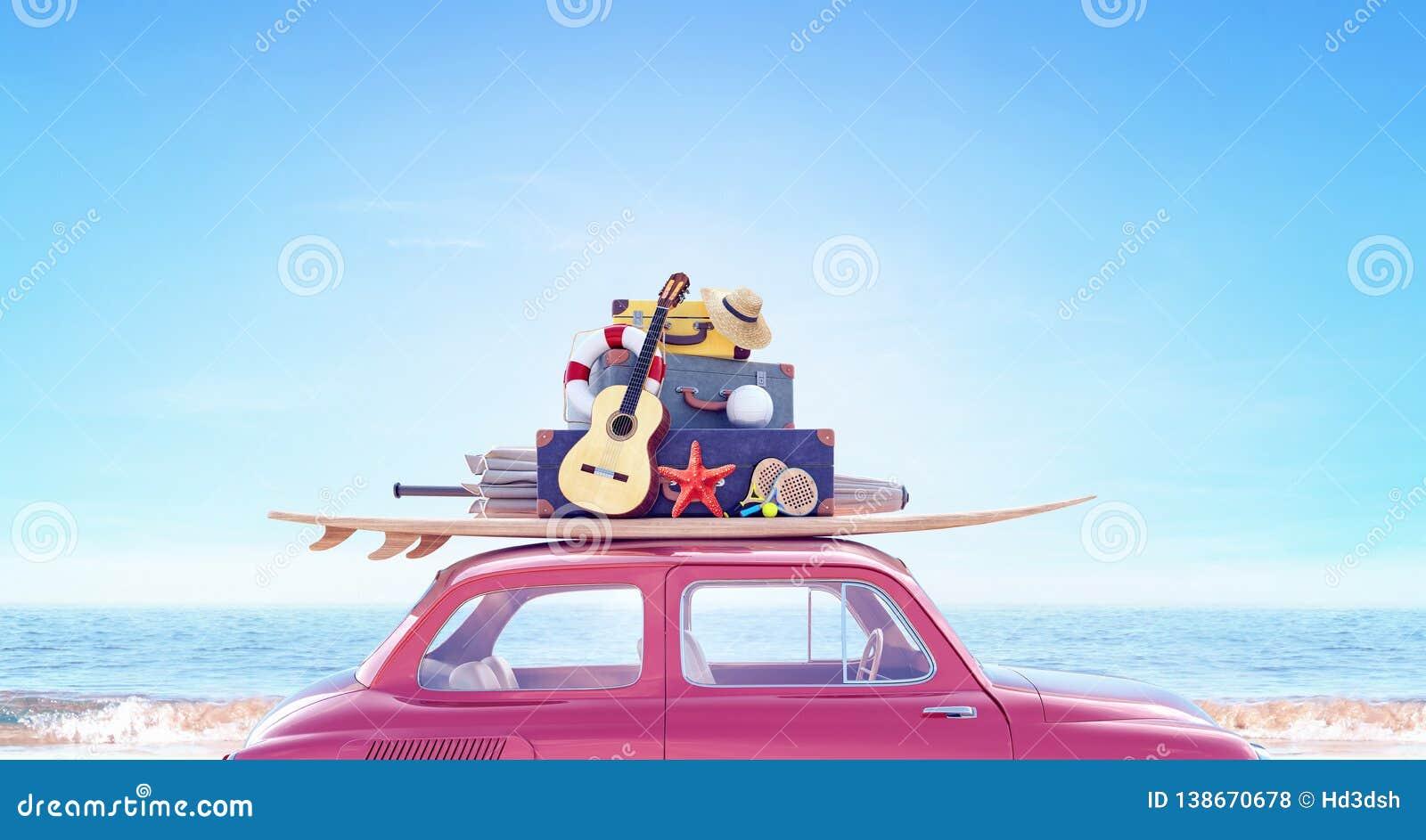Carro com a bagagem pronta por feriados do curso do verão
