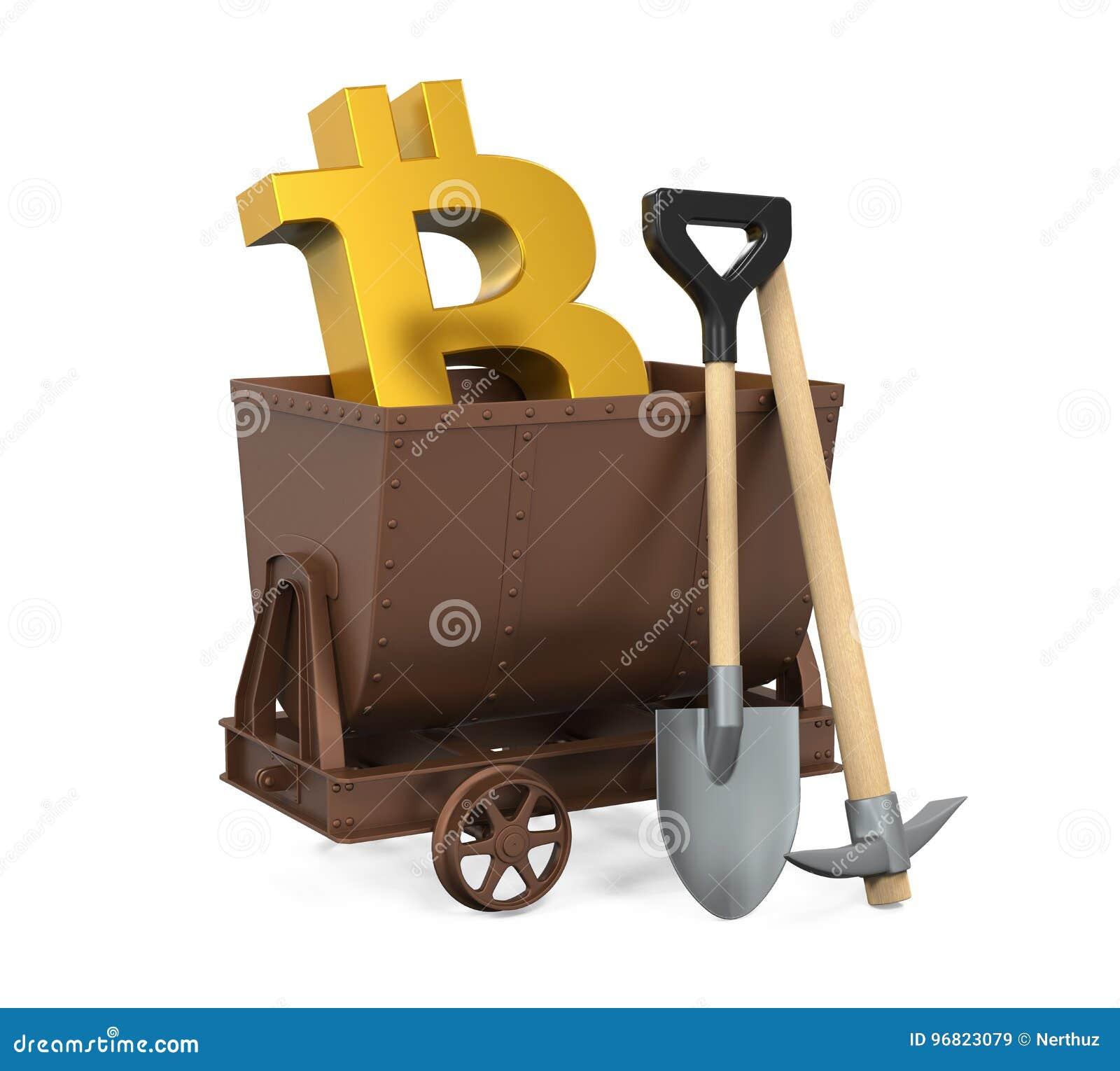 Carro da mineração, picareta, pá com símbolo de Bitcoin isolada