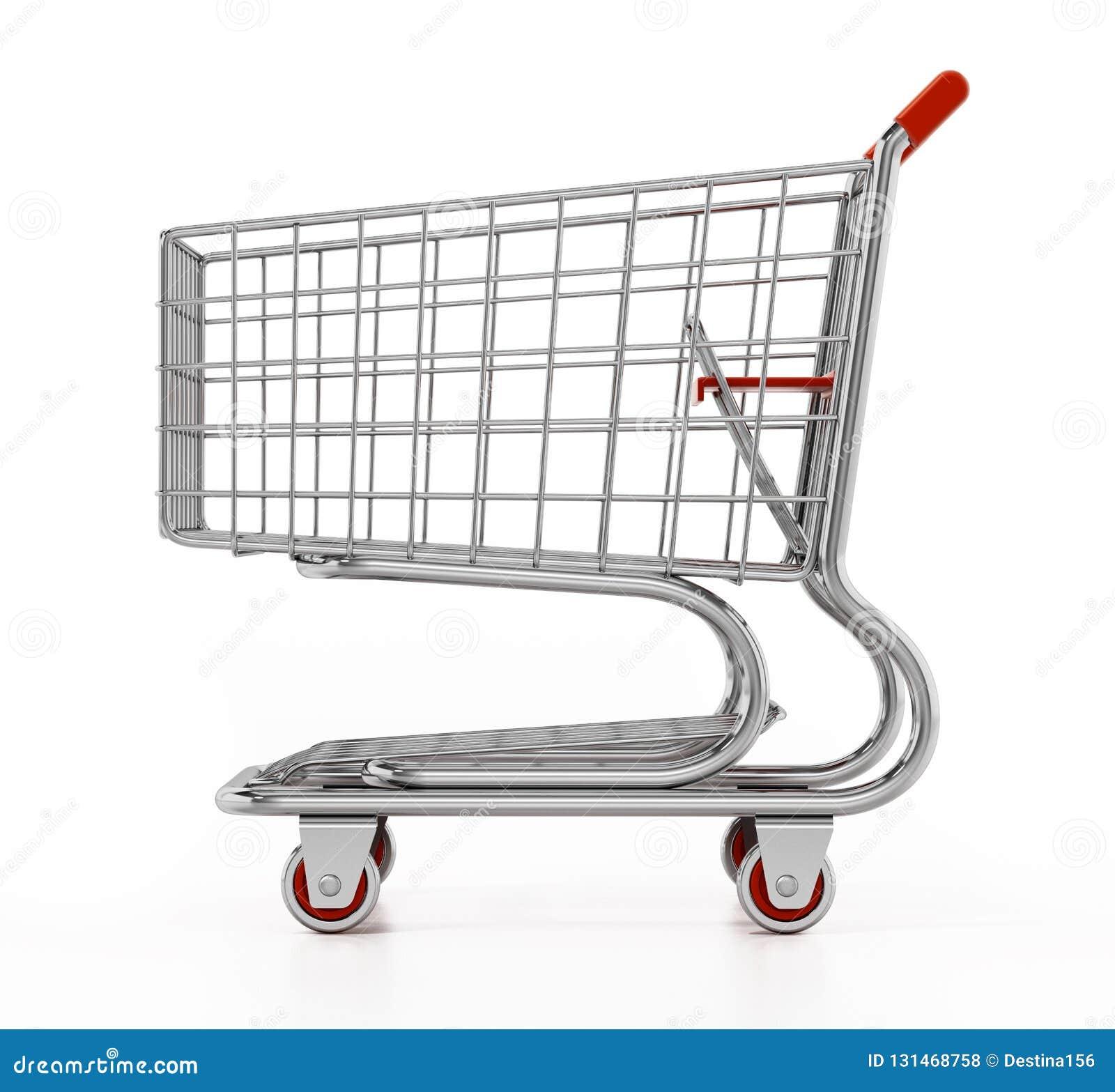 Carro de compras aislado en el fondo blanco ilustración 3D