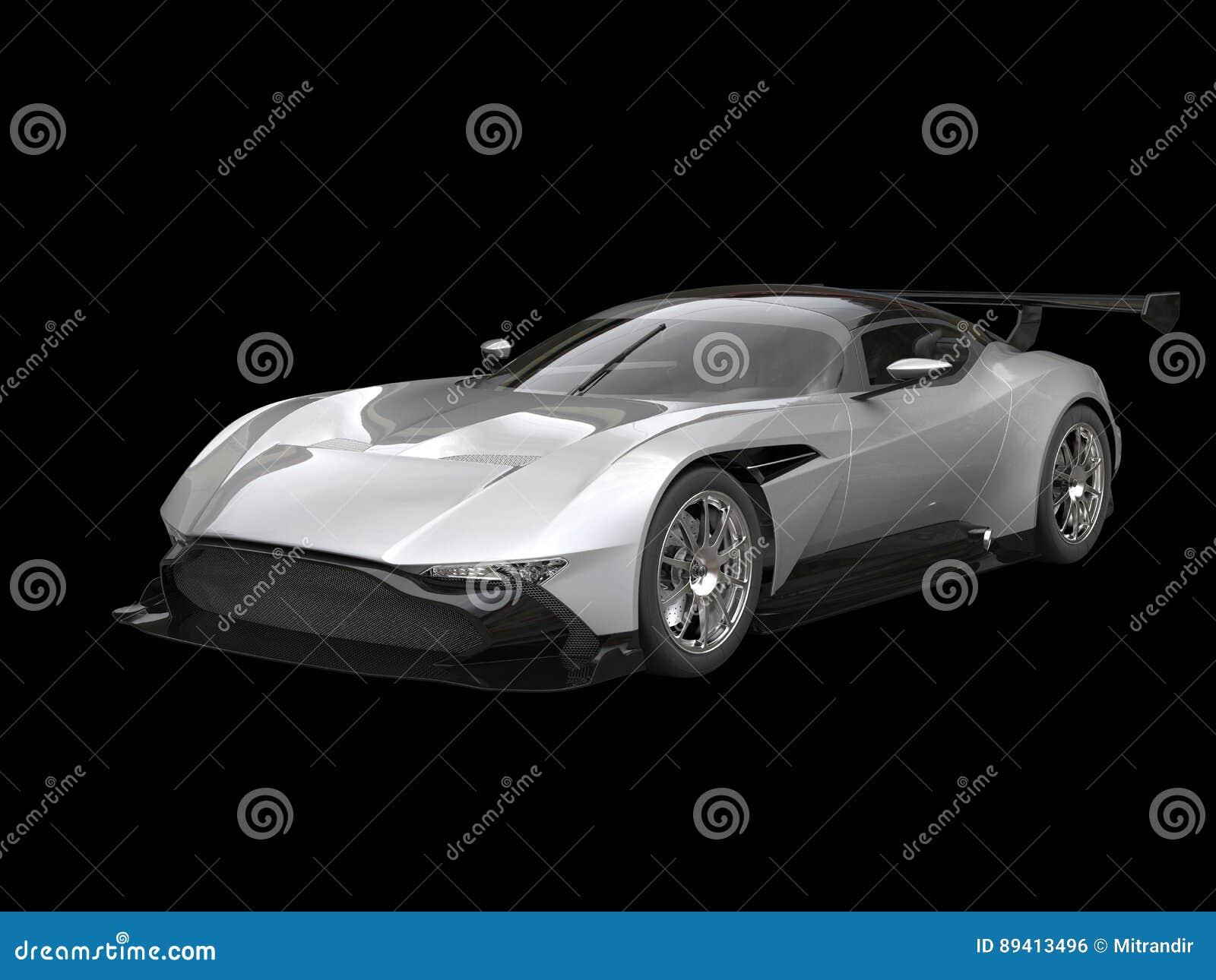 Carro de corridas moderno de prata no fundo preto