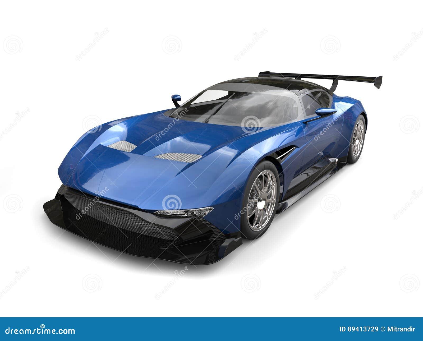 Carro de corridas moderno dos esportes do azul de aço