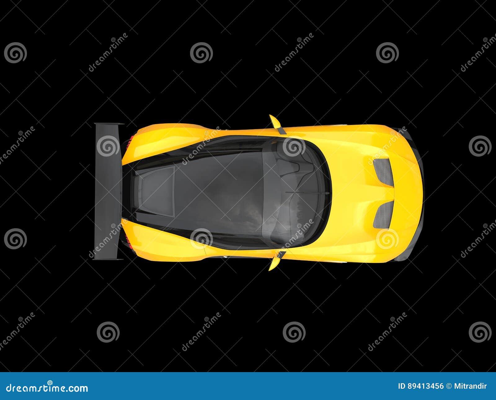Carro de corridas moderno impressionante preto e amarelo - vista superior