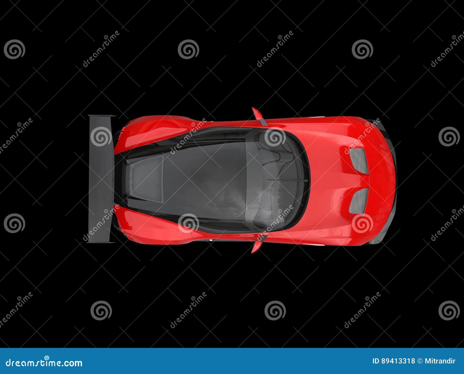 Carro de corridas moderno impressionante preto e vermelho - vista superior