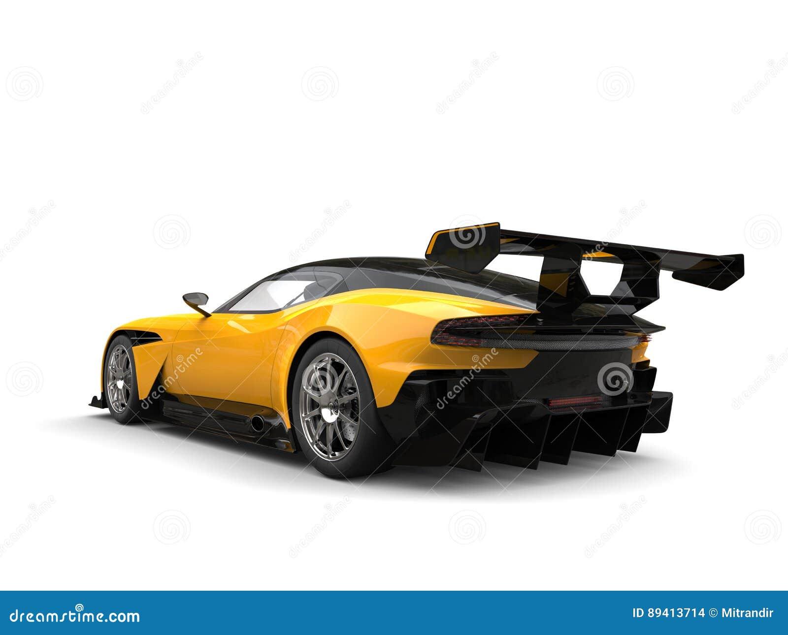 Carro de corridas moderno preto e amarelo dos esportes