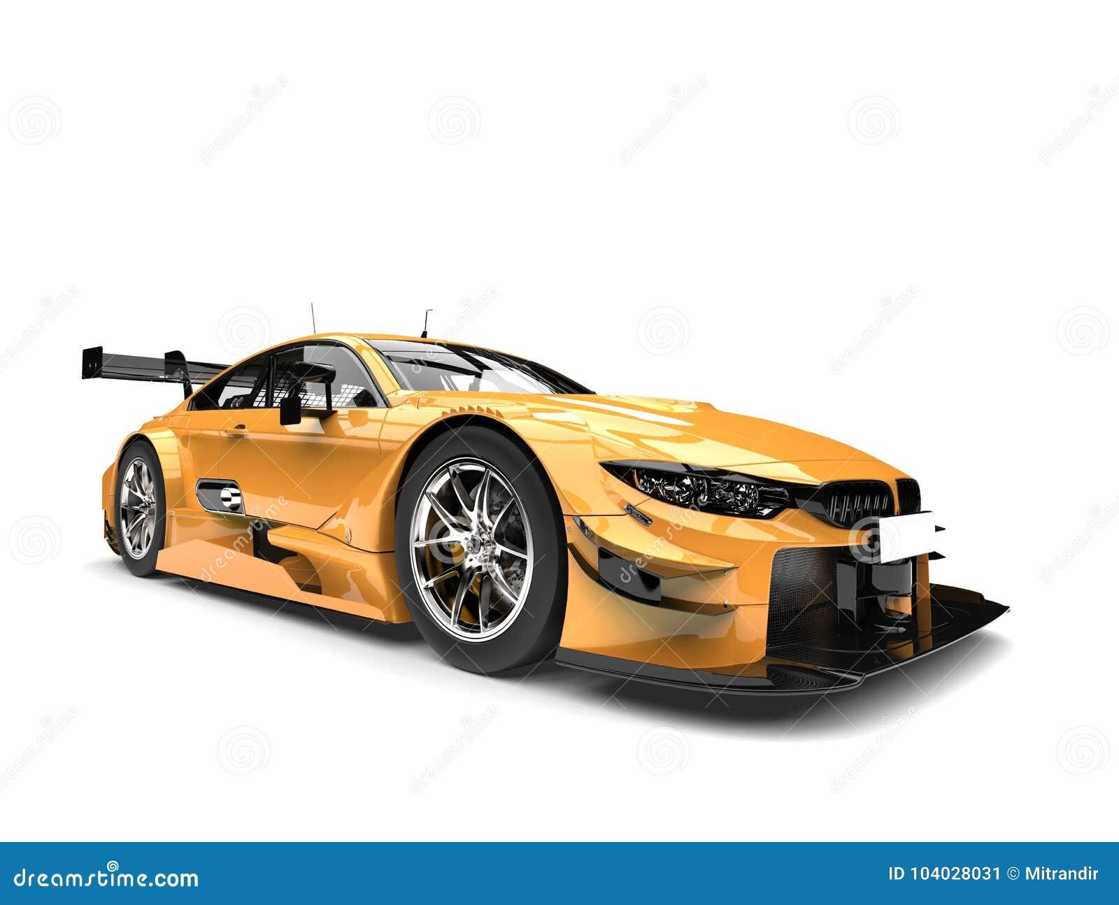 Carro de corridas super moderno metálico dourado