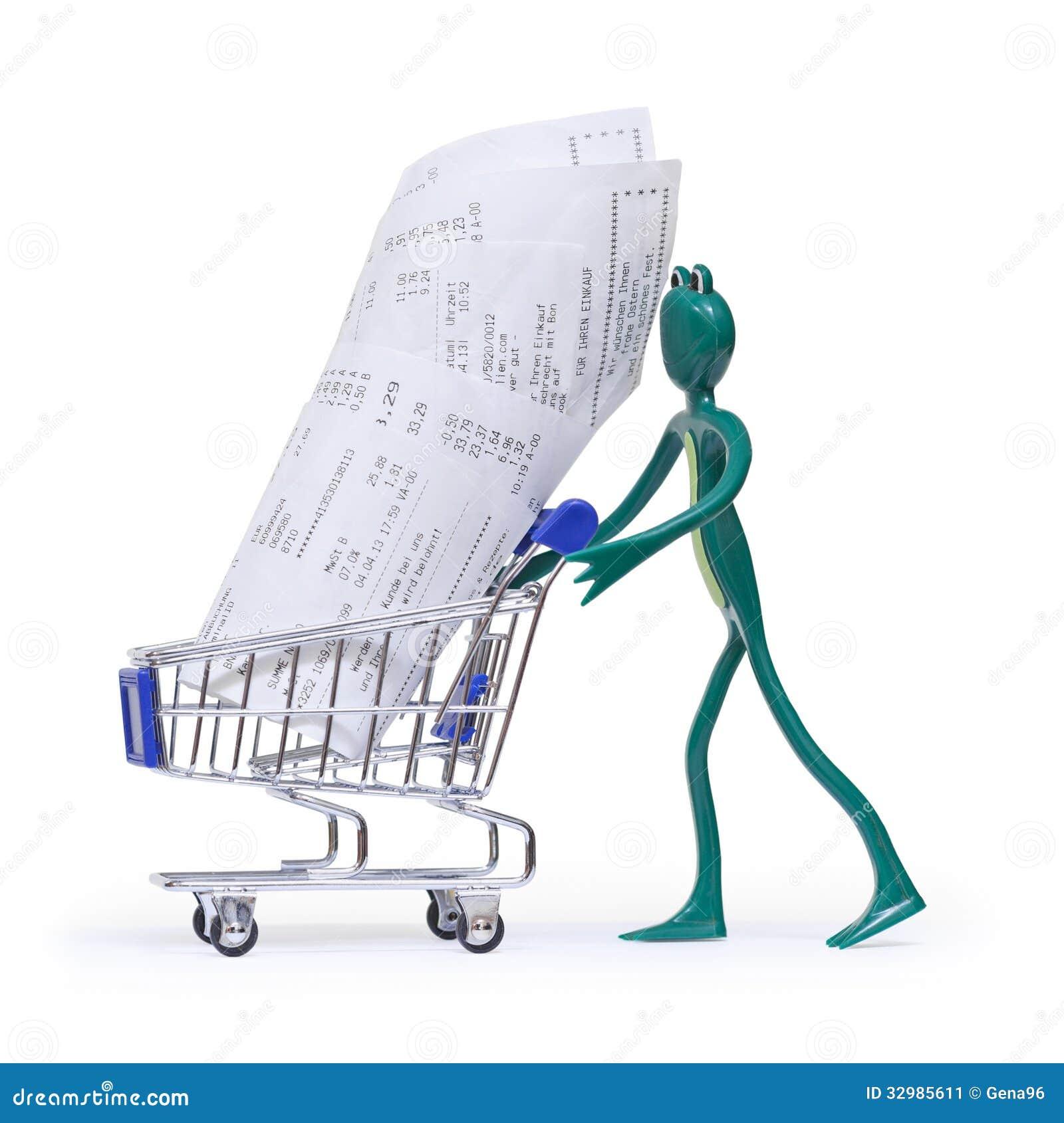 carro de la compra con los recibos y la rana imagen de archivo