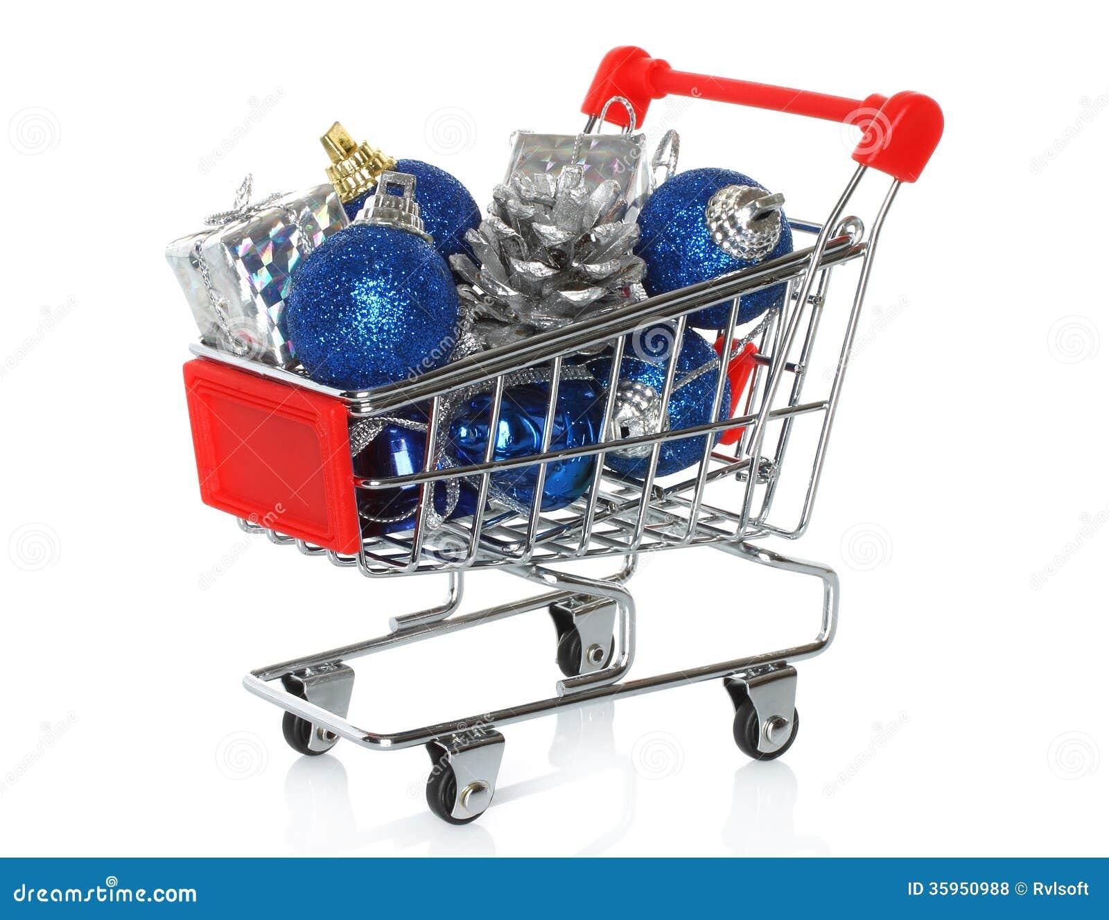 Carro de la compra con los regalos de la Navidad
