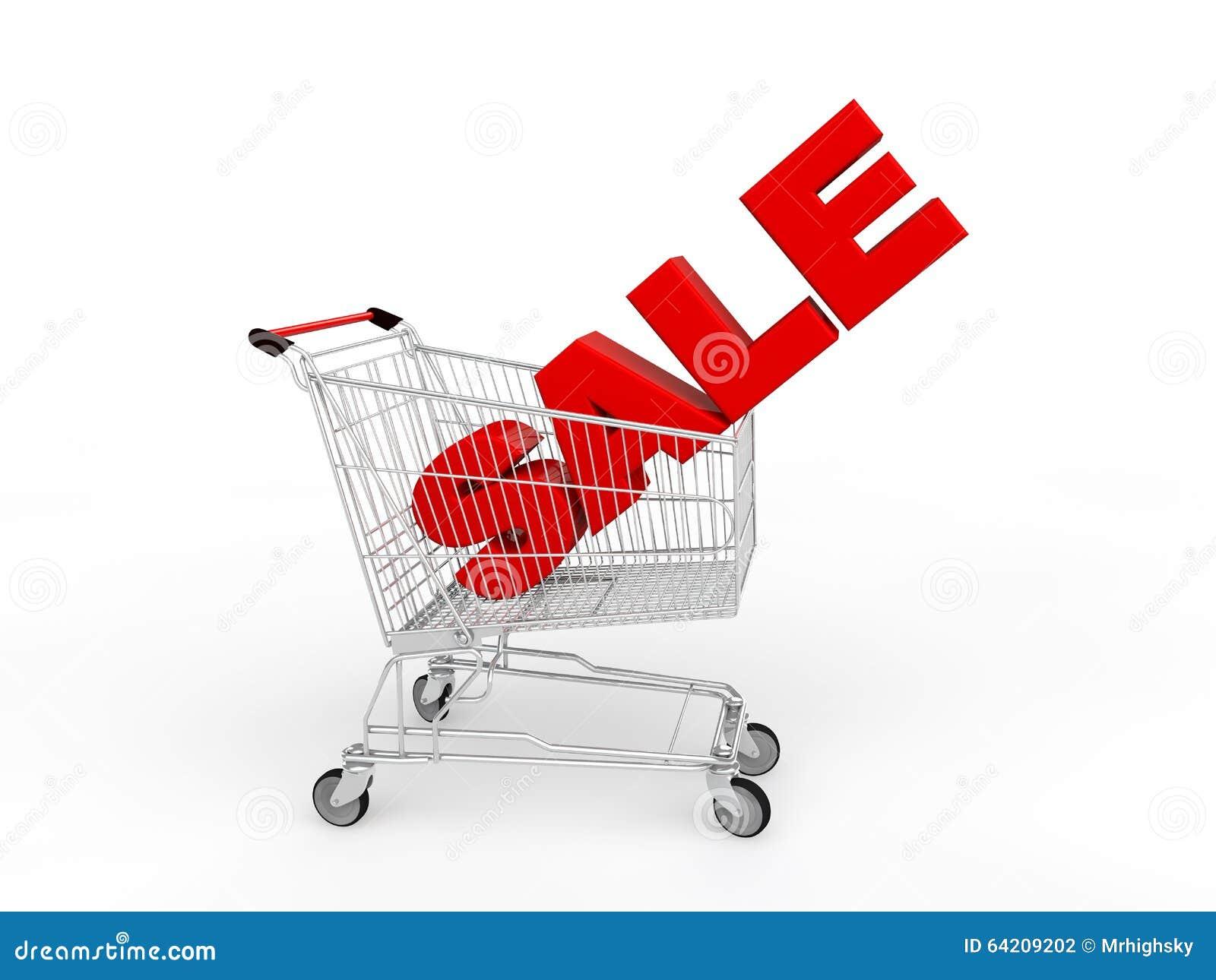 Carro de la compra 3d con el texto rojo de la venta