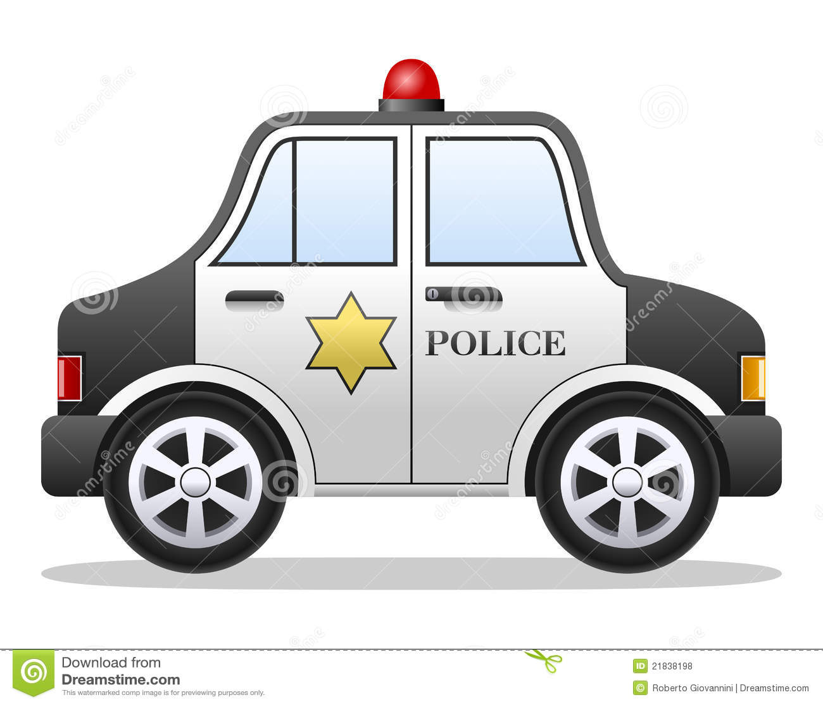 Carro de polícia dos desenhos animados