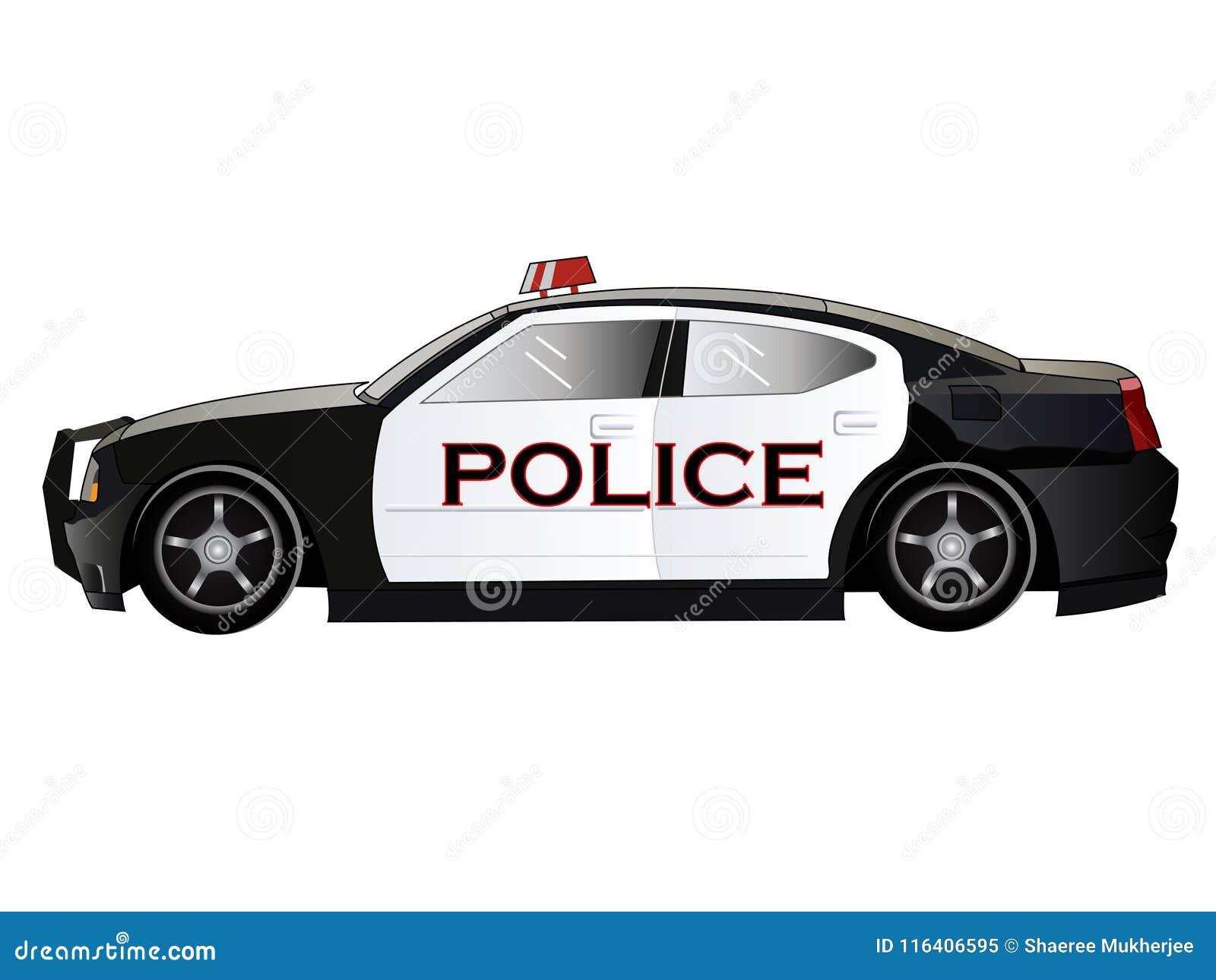 Carro De Policia Dos Desenhos Animados Da Ilustracao Do Vetor