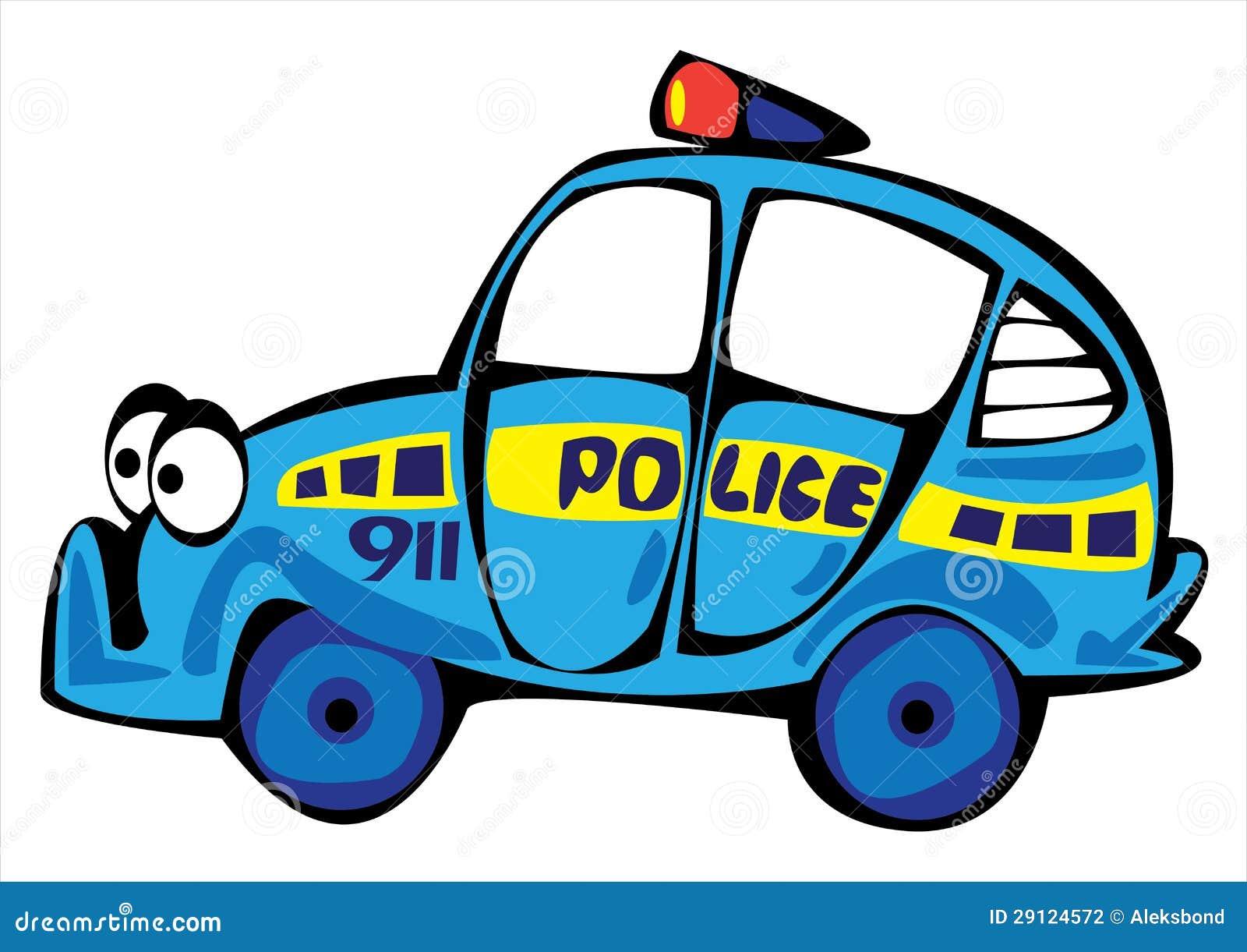 Carro De Policia Dos Desenhos Animados Isolado No Branco