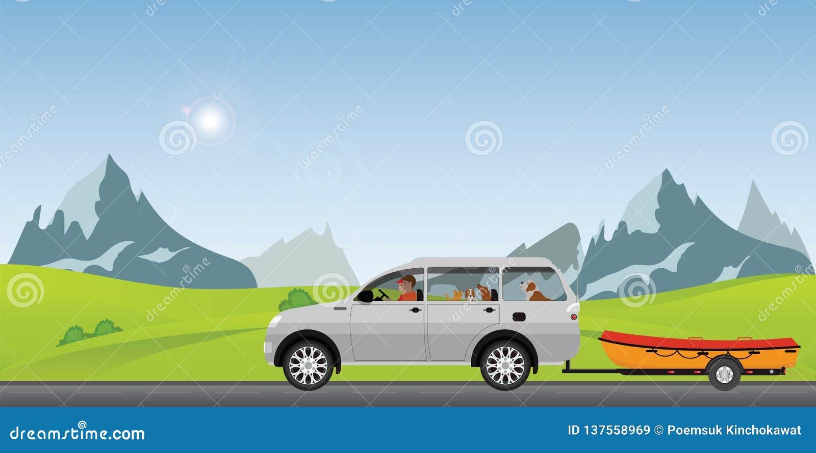 Carro de reboque do barco na estrada que corre avante em um dia de mola ensolarado no feriado