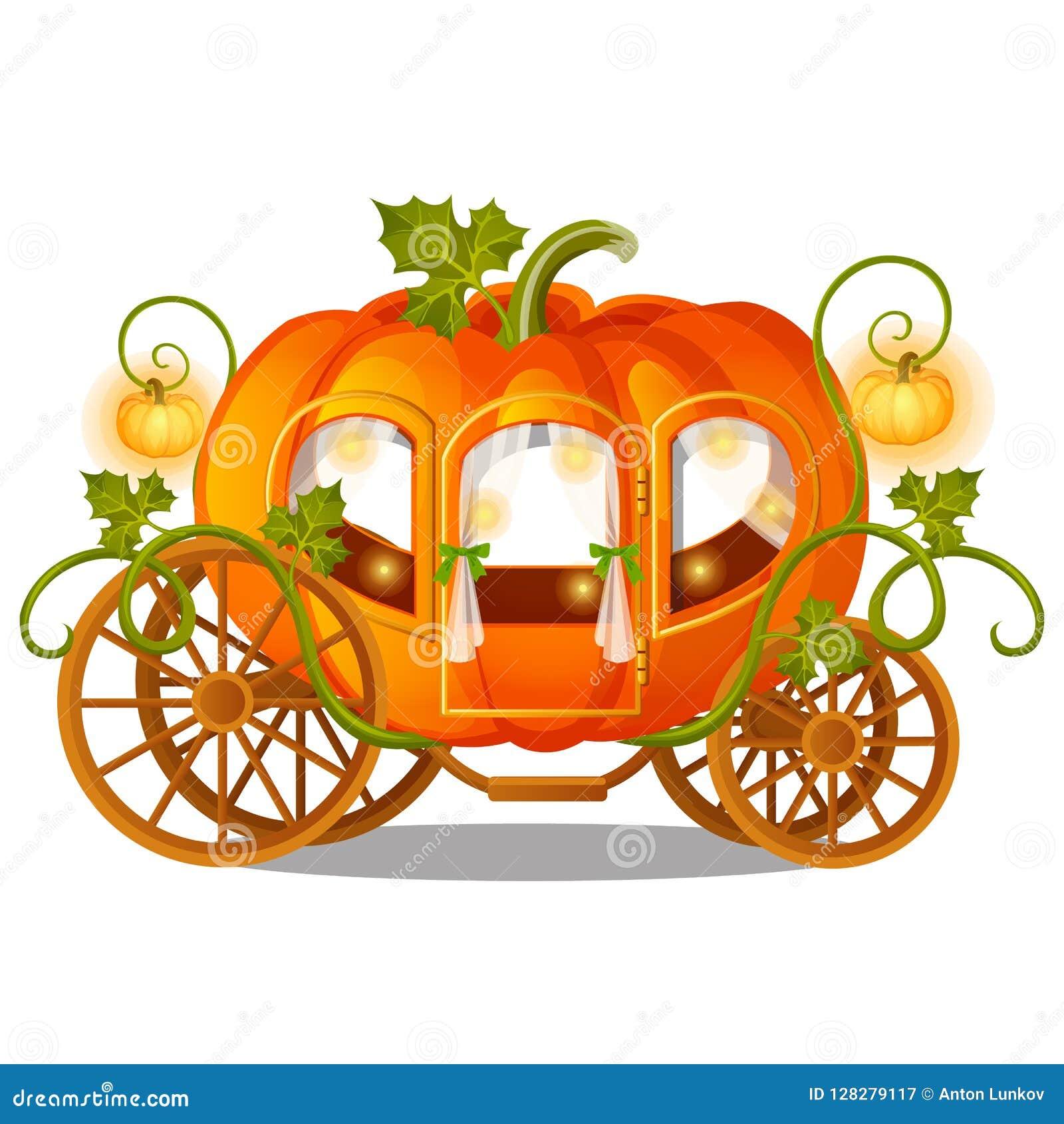 Carro del caballo del vintage de la calabaza con el ornamento florido aislado en el fondo blanco Bosquejo para un cartel o una ta