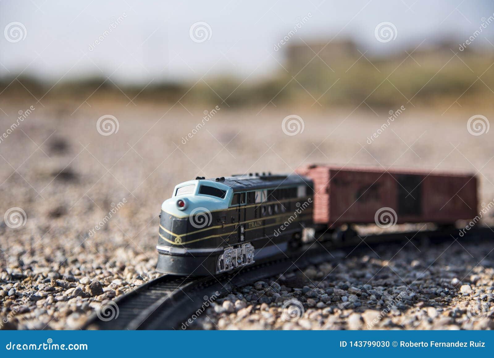 Carro del tren de la locomotora y del juguete abandonado en el campo