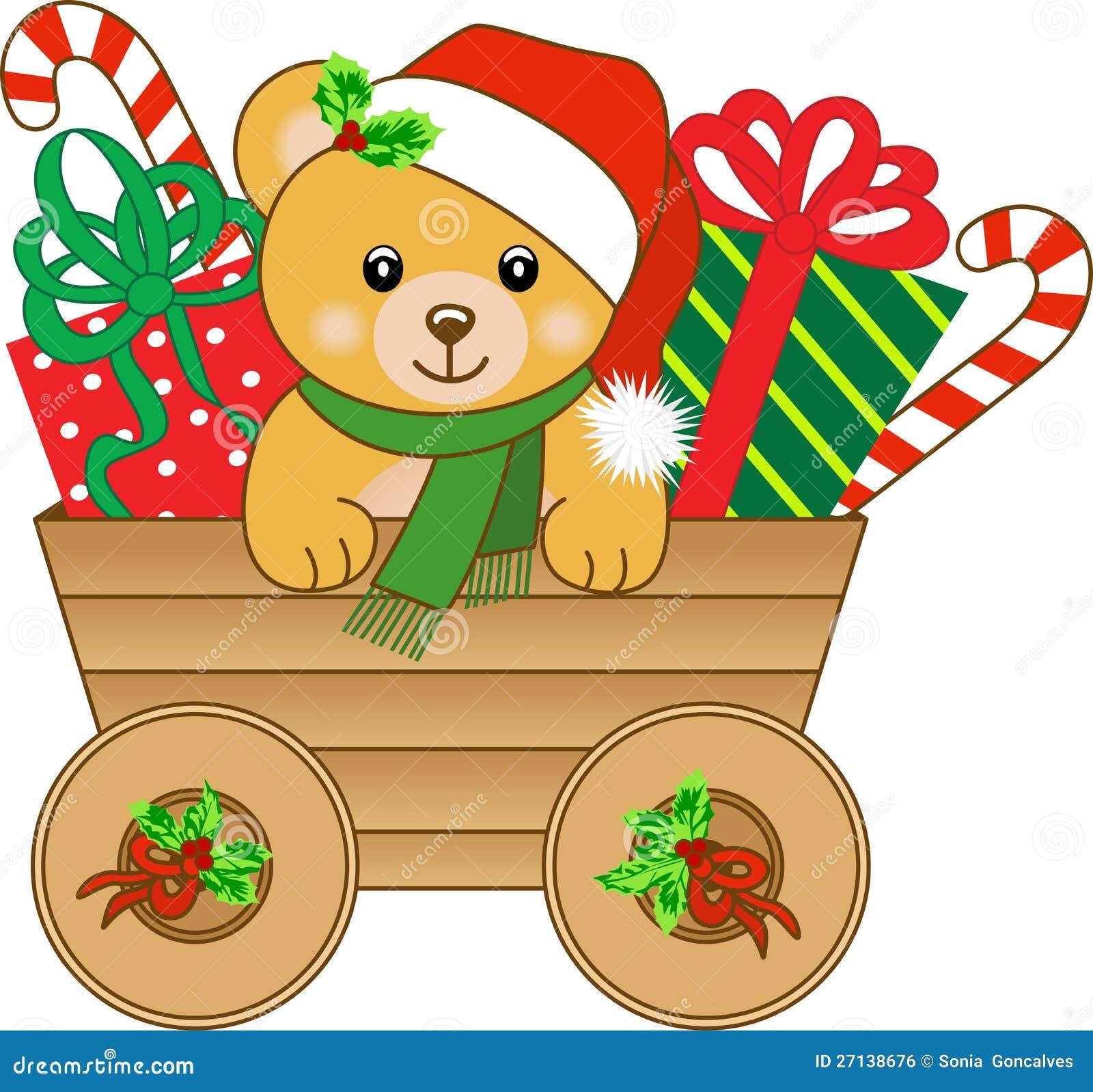 Carro do Natal com urso de peluche