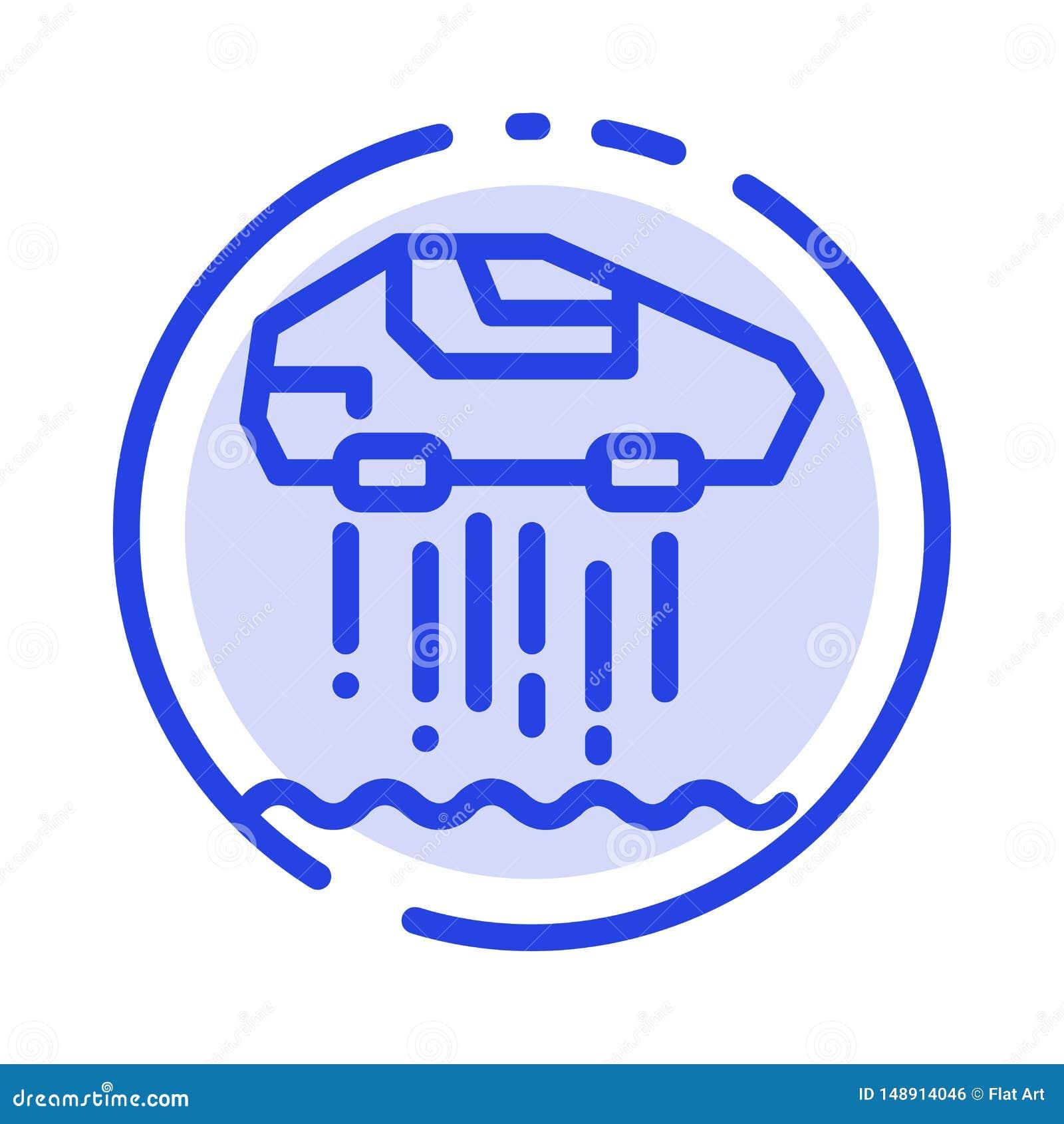 Carro do pairo, pessoal, carro, linha pontilhada azul linha ícone da tecnologia