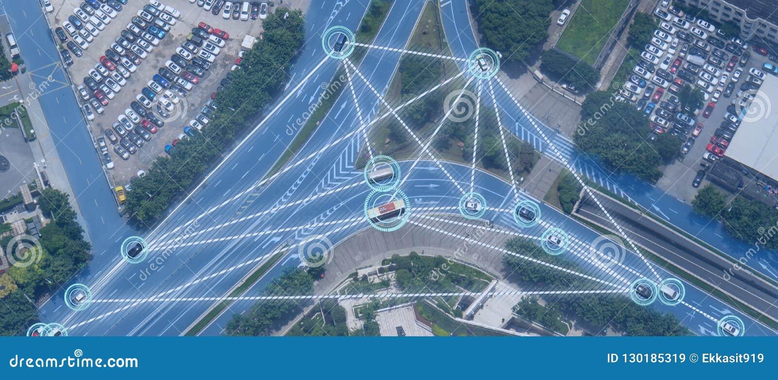 Carro Driverless automotivo esperto de Iot com a liga da inteligência artificial com tecnologia de aprendizagem profunda o auto q